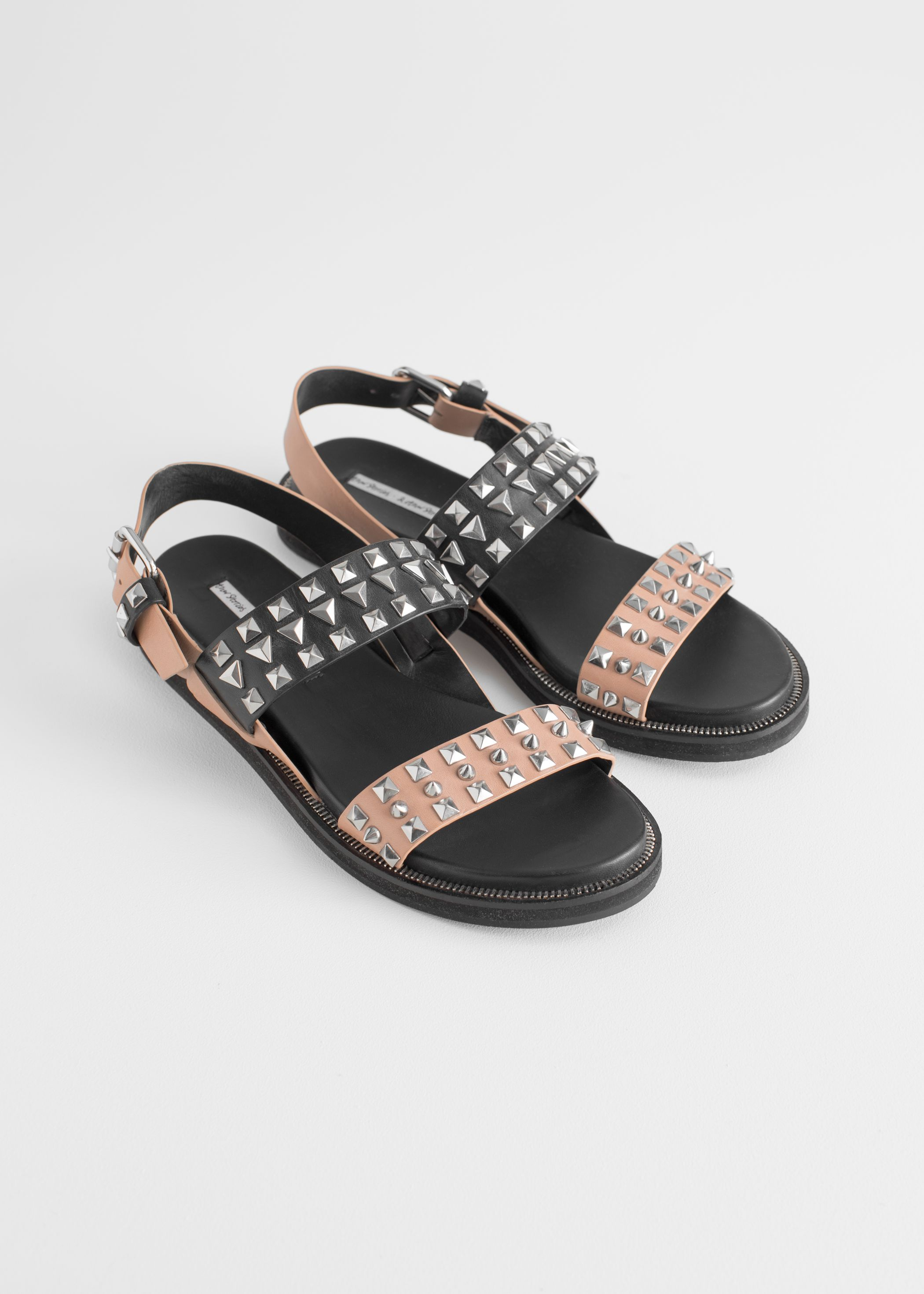 Two Toned Studded Sandals