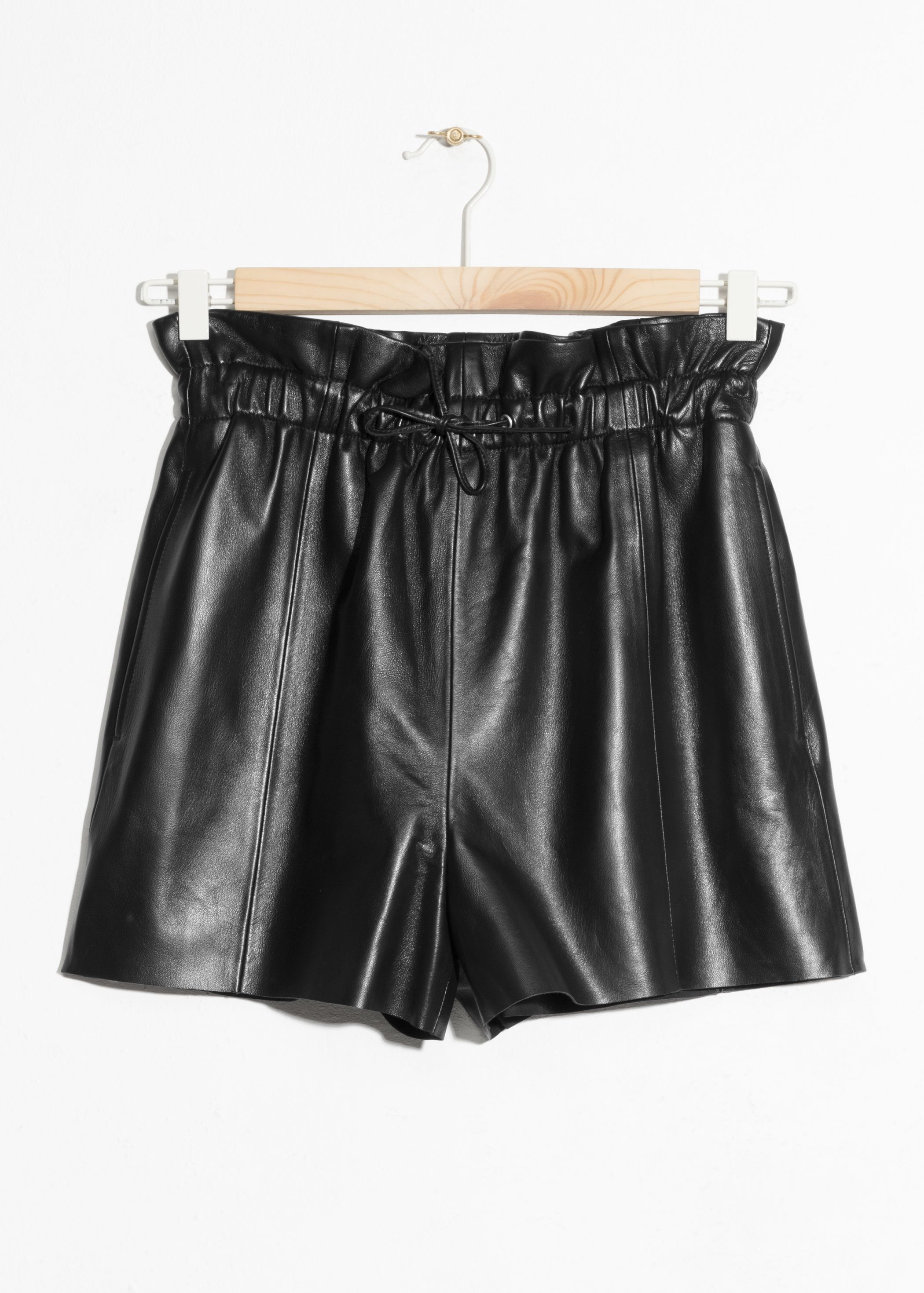 Paperbag Waist Leather Shorts
