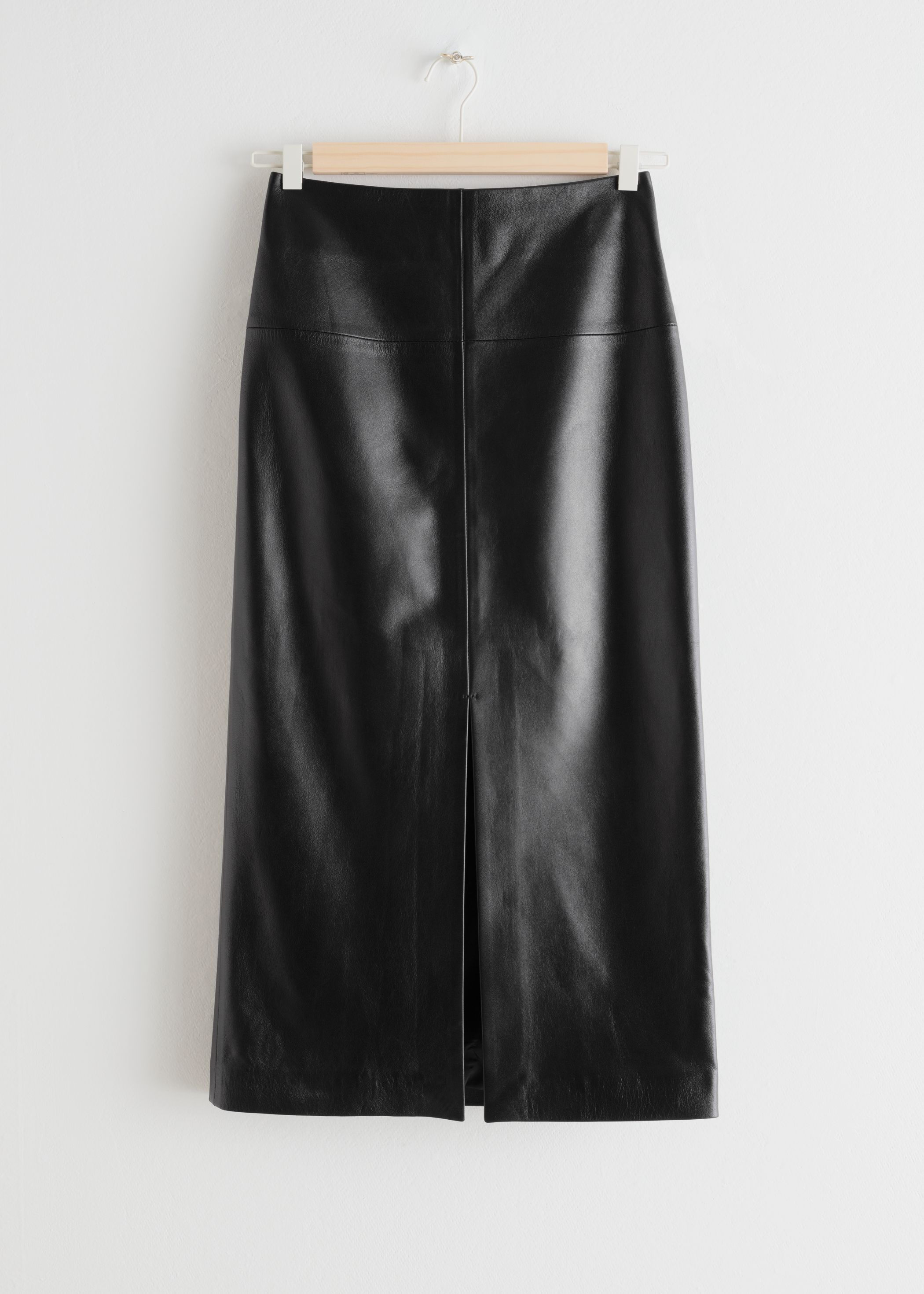 Front Slit Leather Midi Skirt