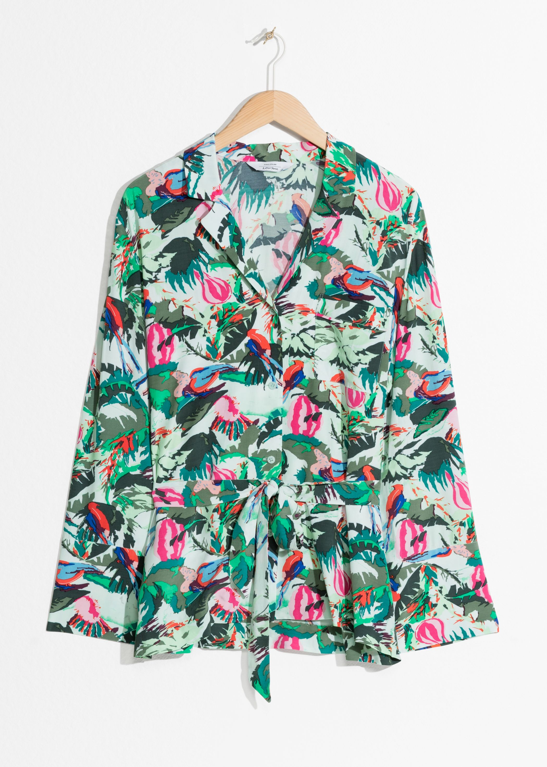 Tropical Belted Lounge Shirt