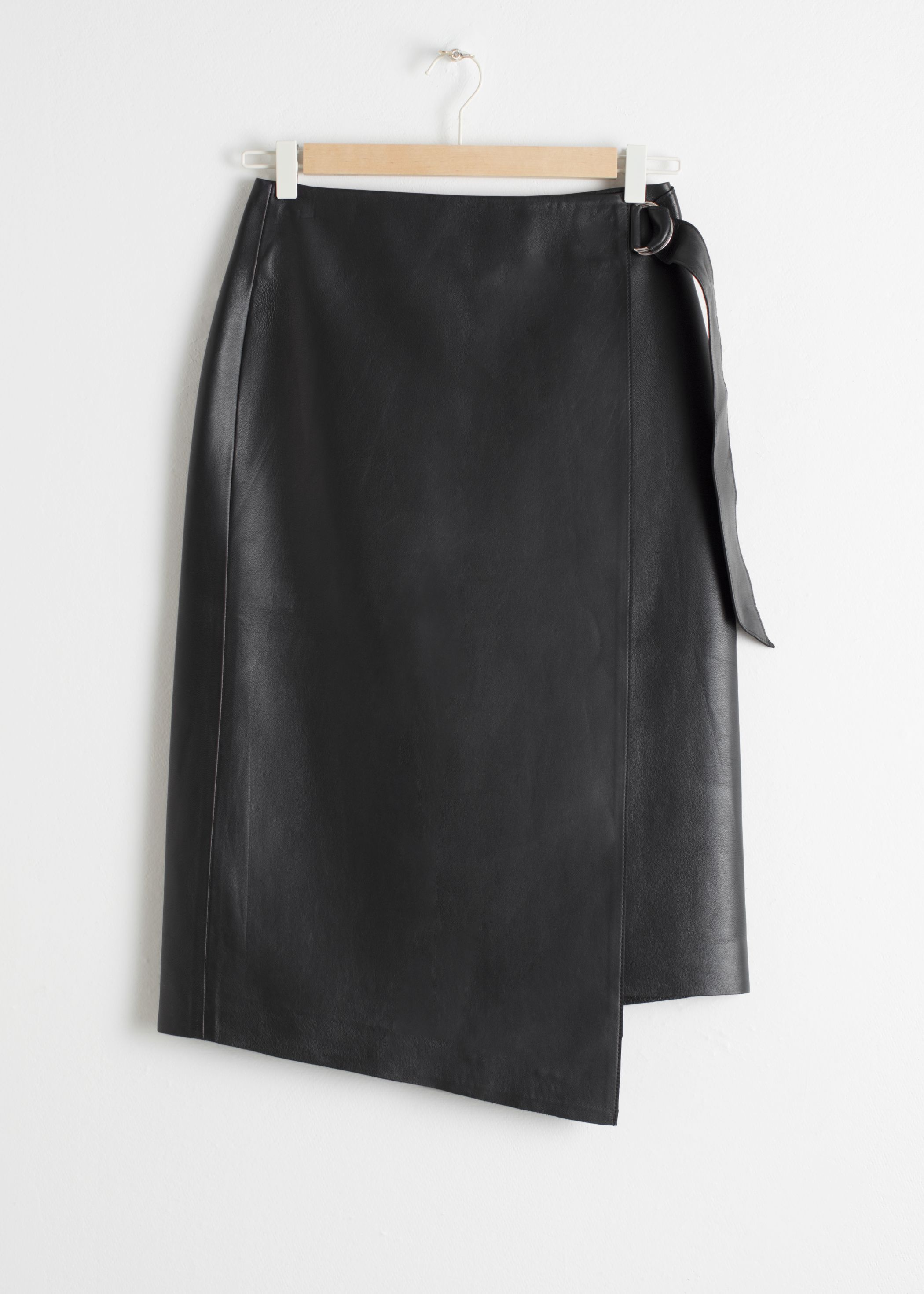 Asymmetric Belted Leather Skirt