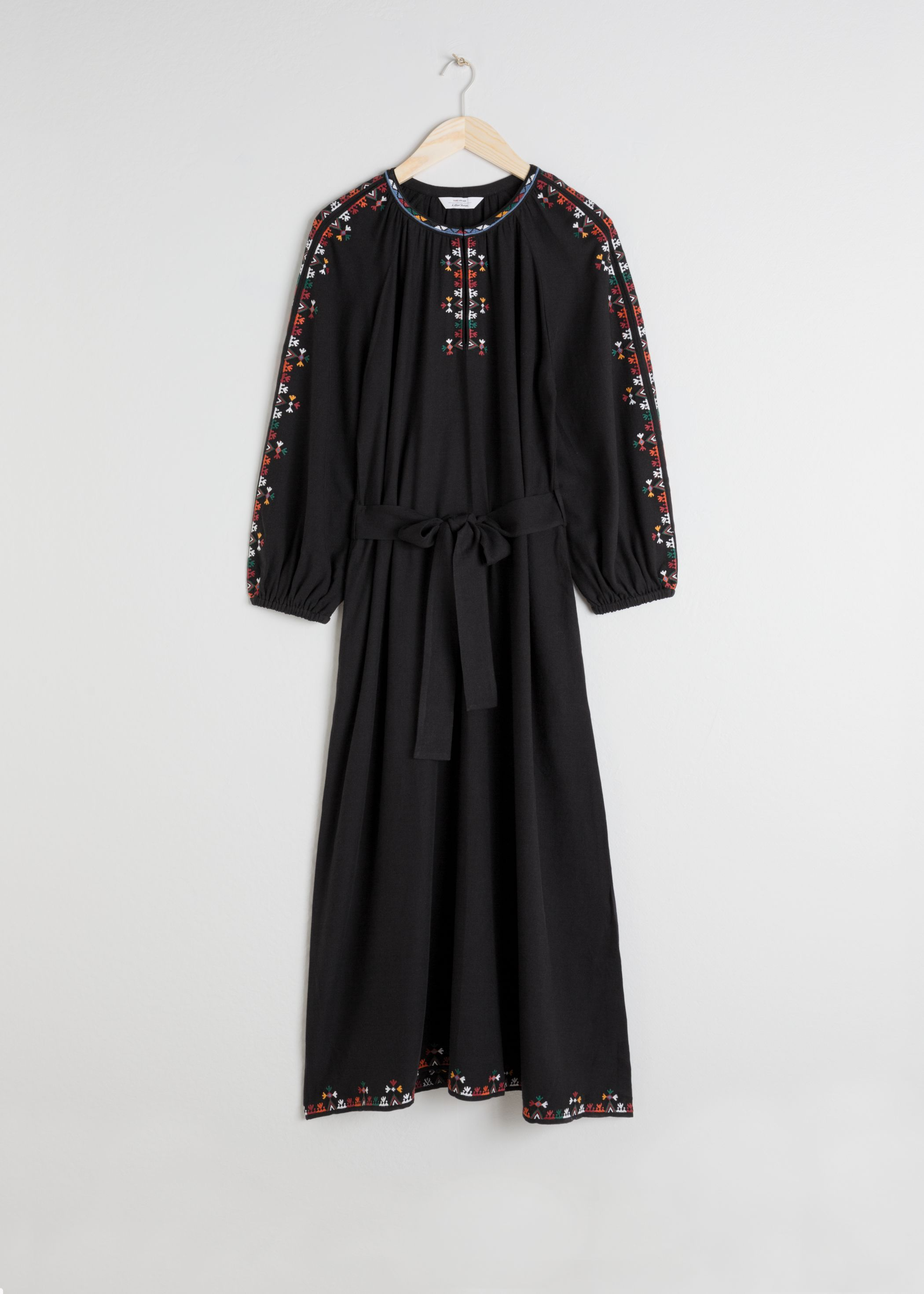 Embroidered Peasant Maxi Dress