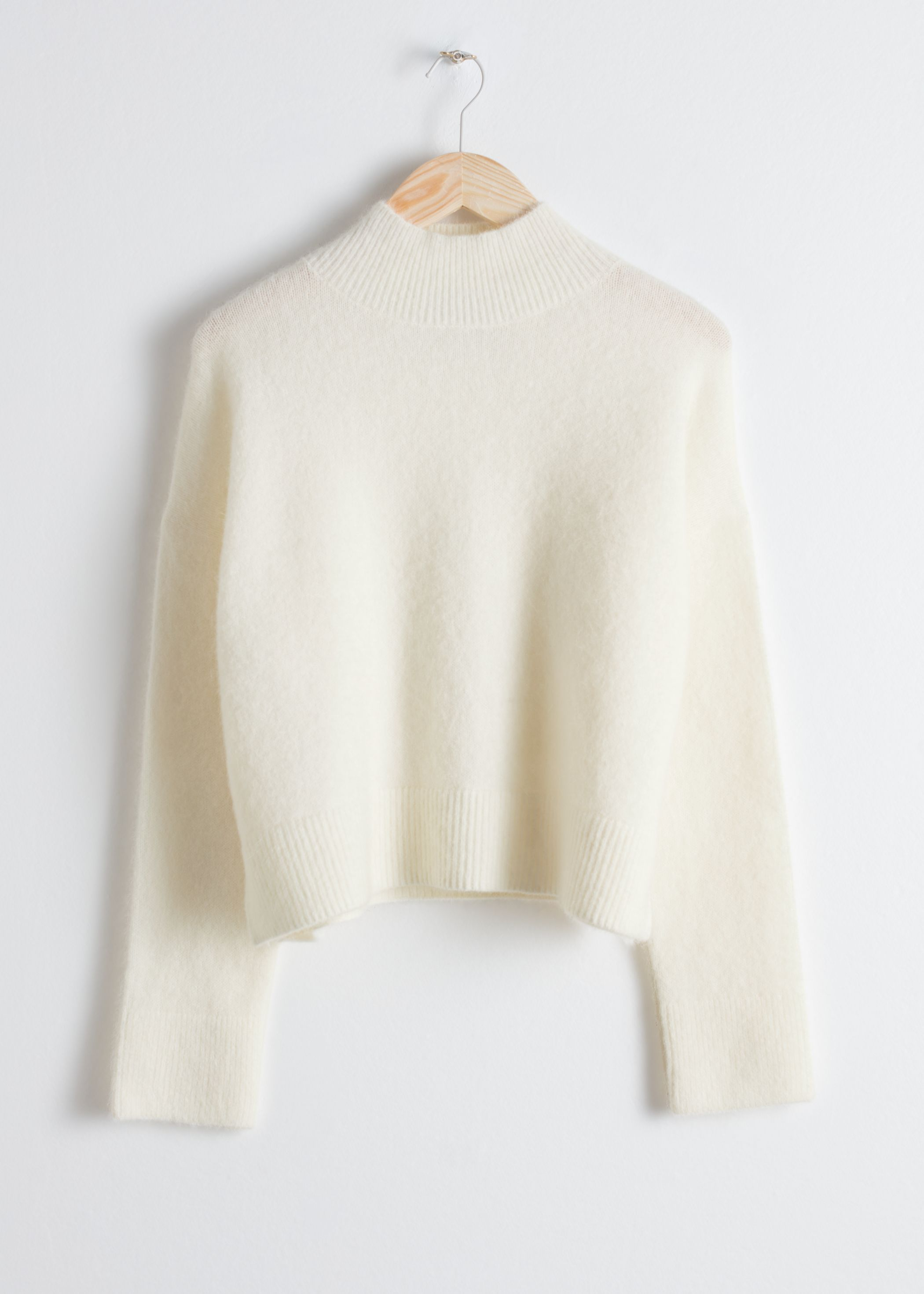 Wool Blend Cropped Turtleneck