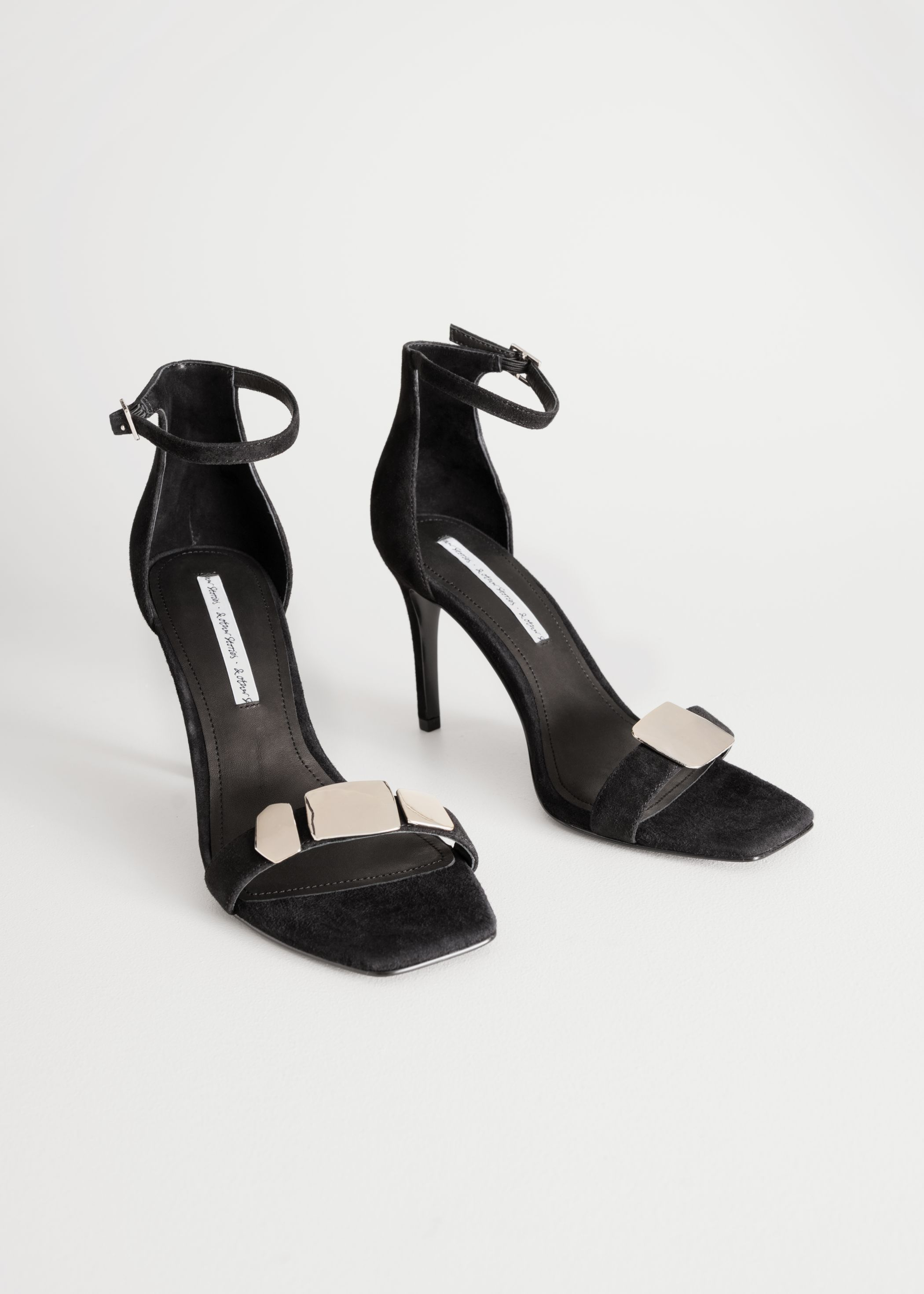 Suede Square Toe Heeled Sandal