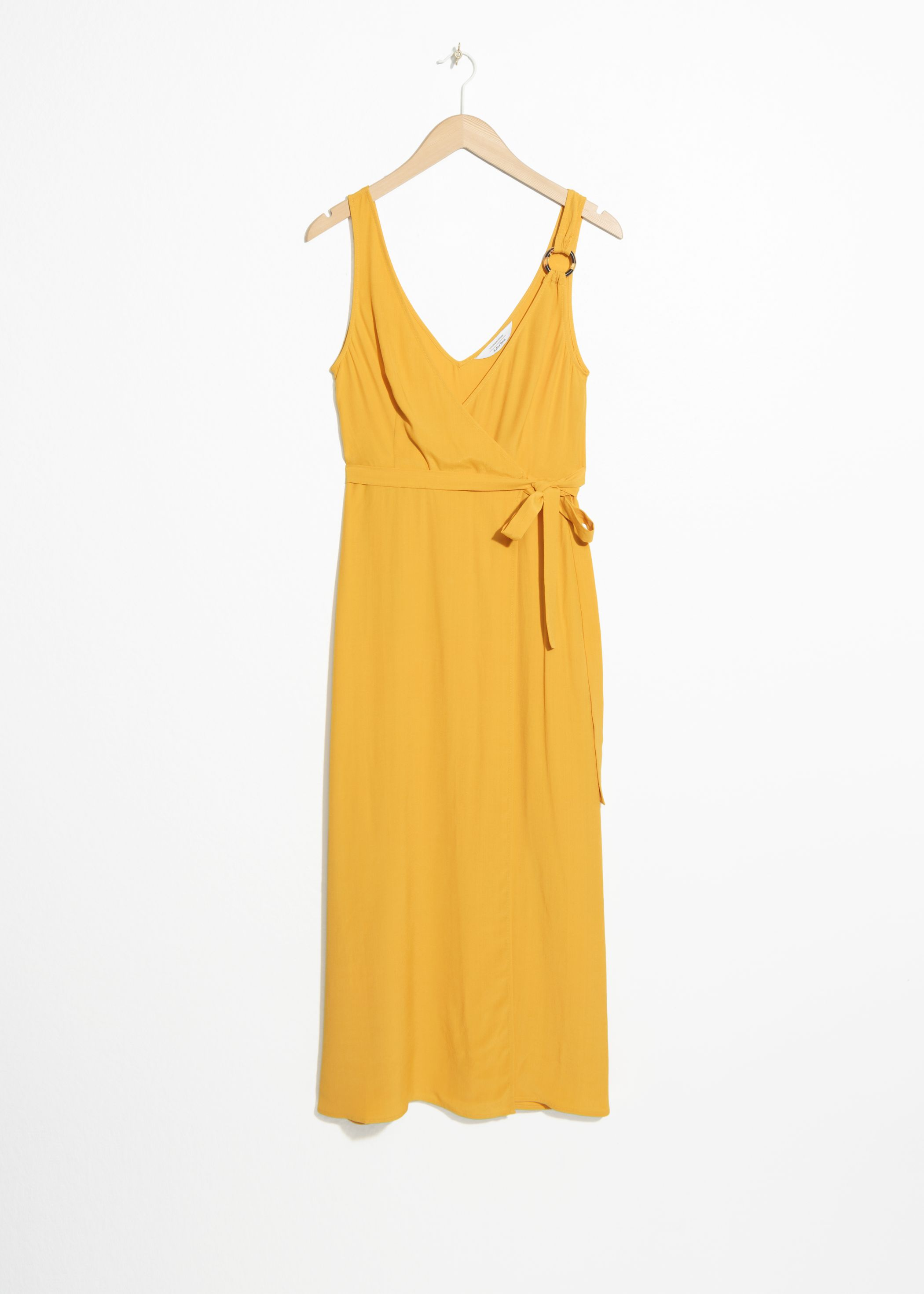 Tortoise O-Ring Wrap Midi Dress