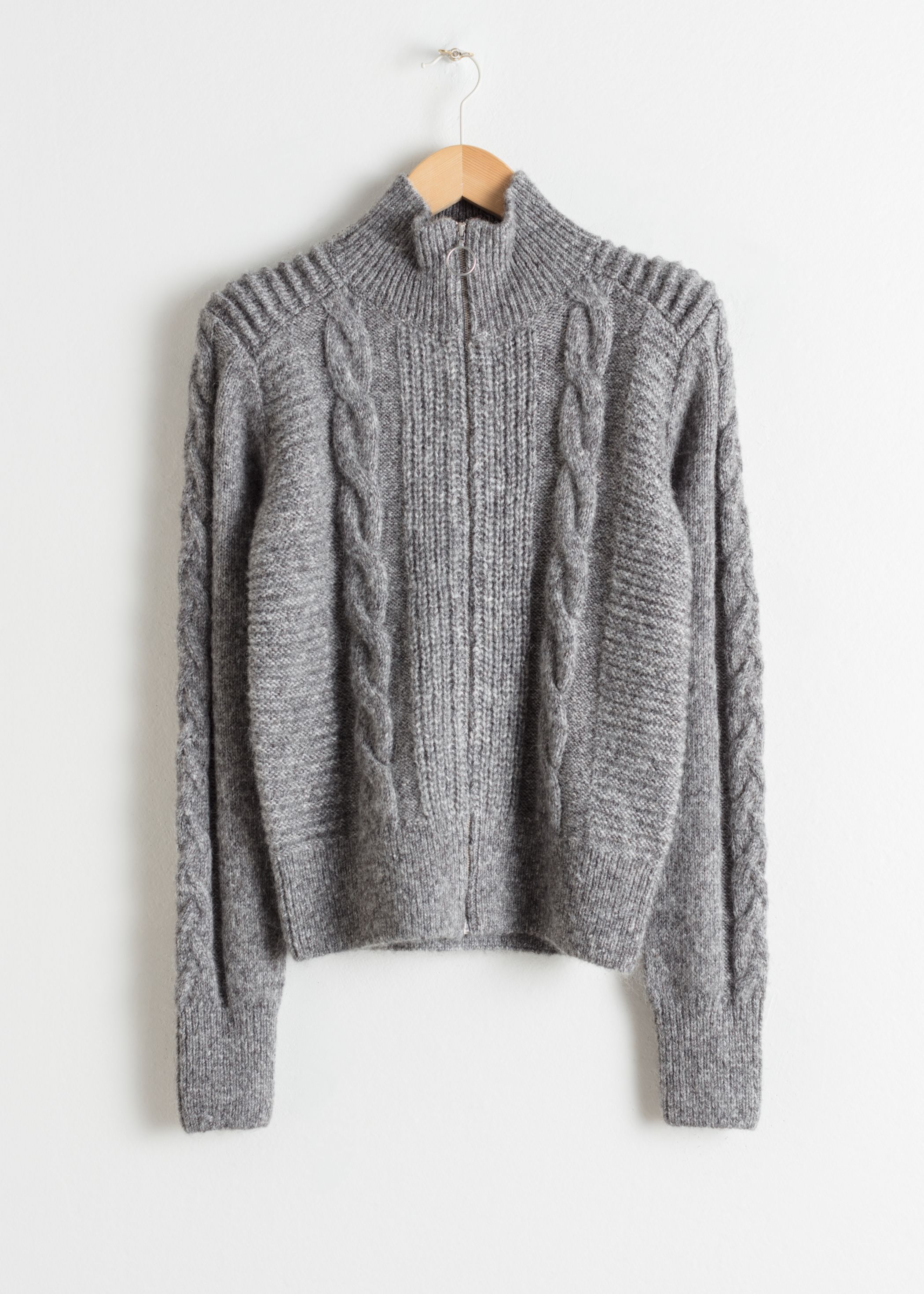Zip Up Cable Knit Cardigan