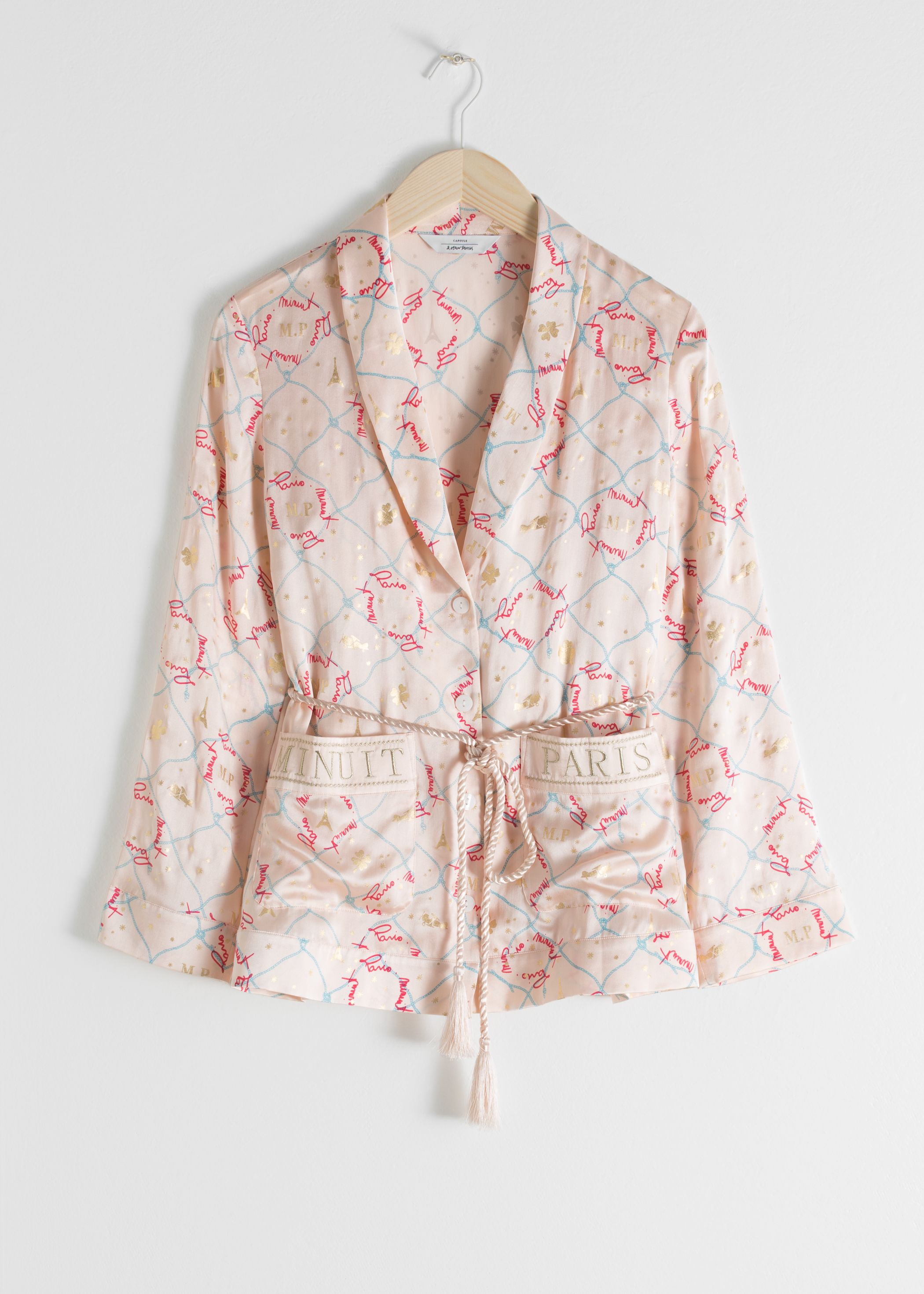Belted Silk Lounge Shirt