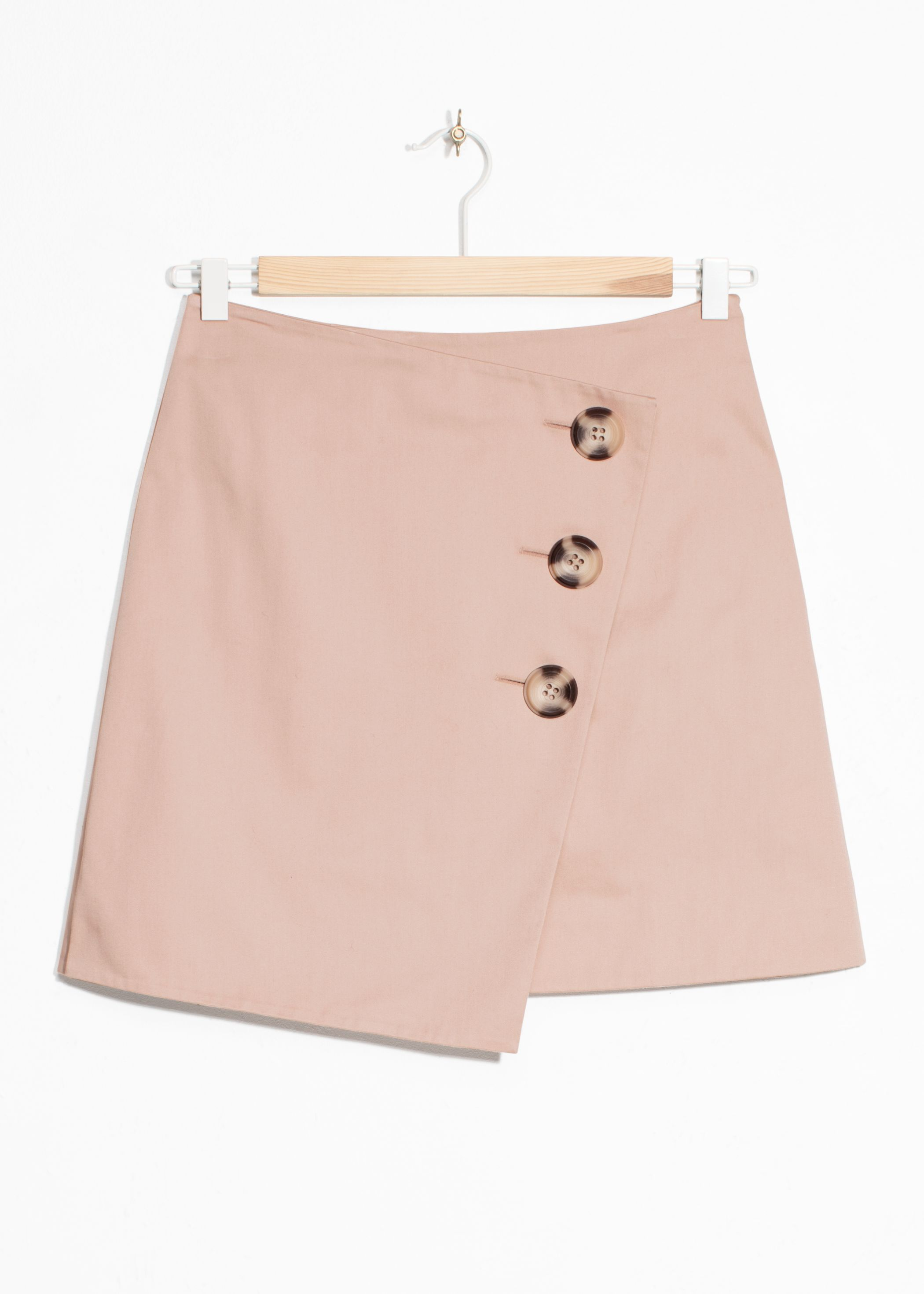 Asymmetric Button Mini Skirt