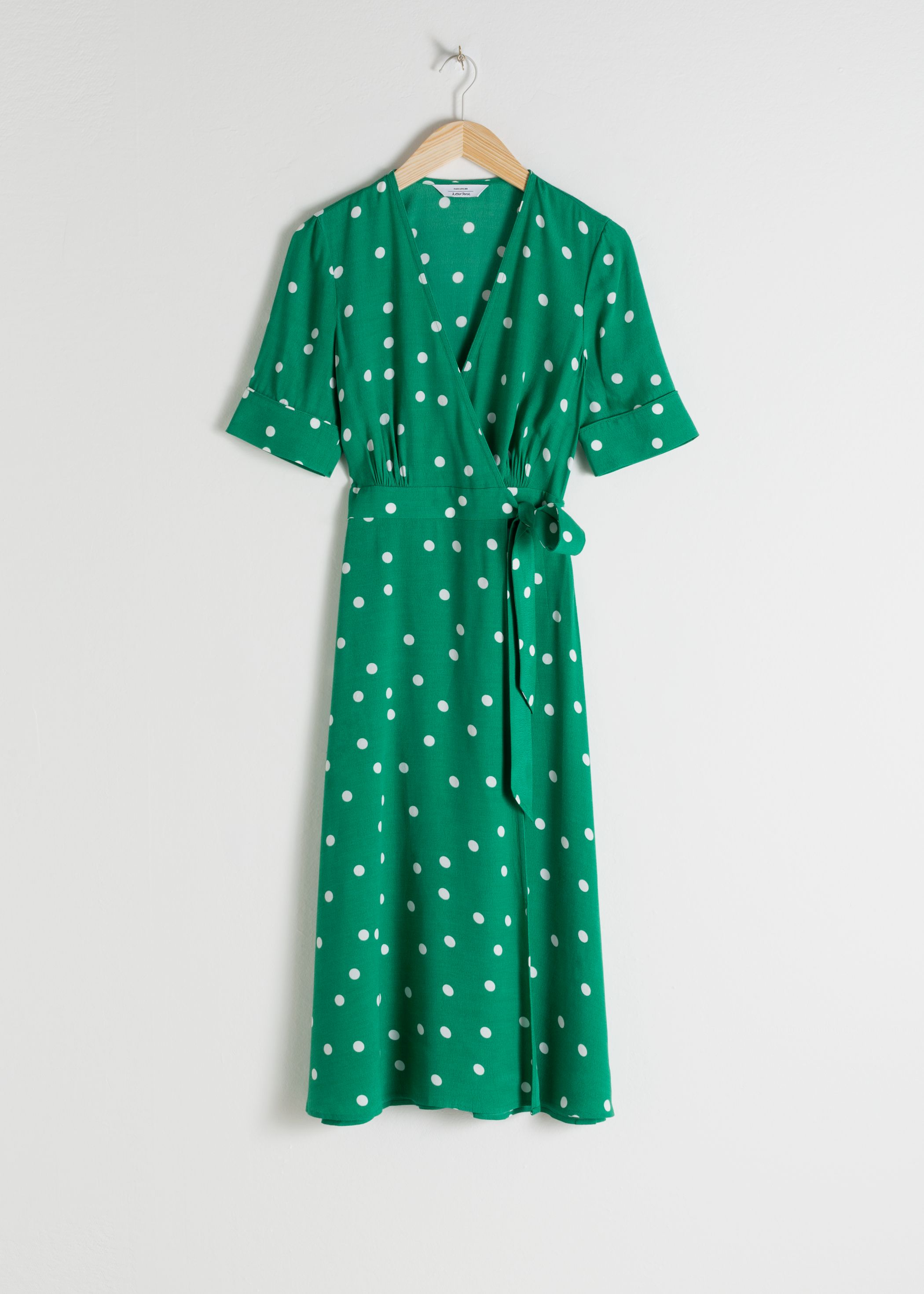Polka Dot Midi Wrap Dress