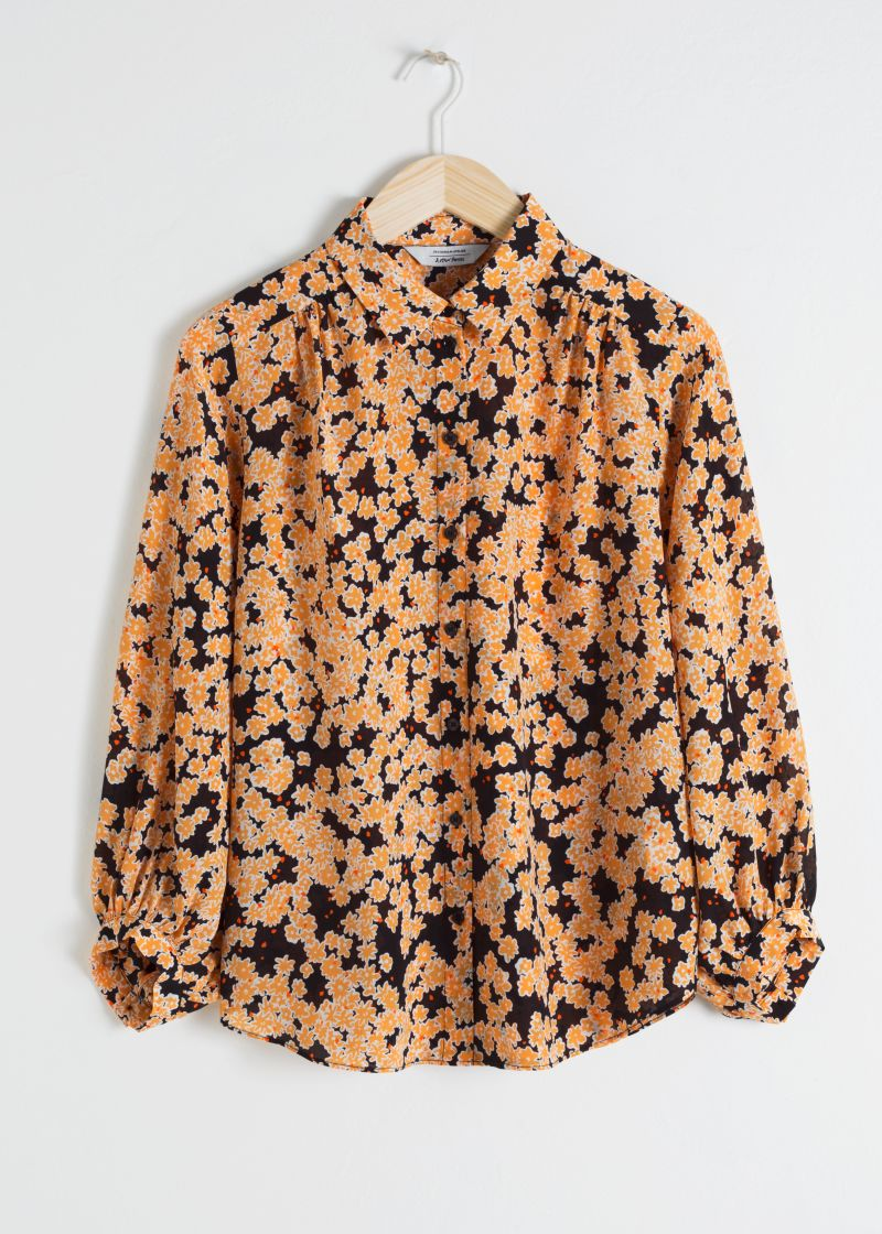 Printed Silk Button Up