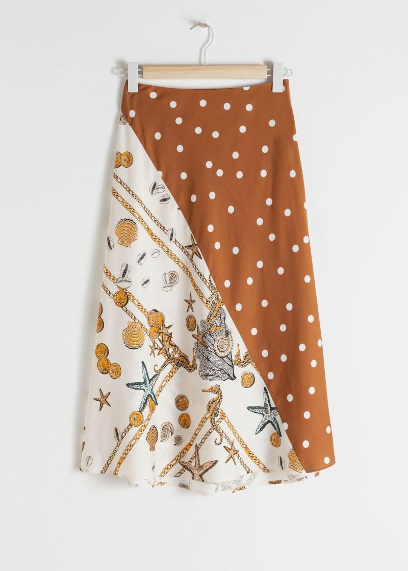 Polka Dot Seashell Satin Midi Skirt