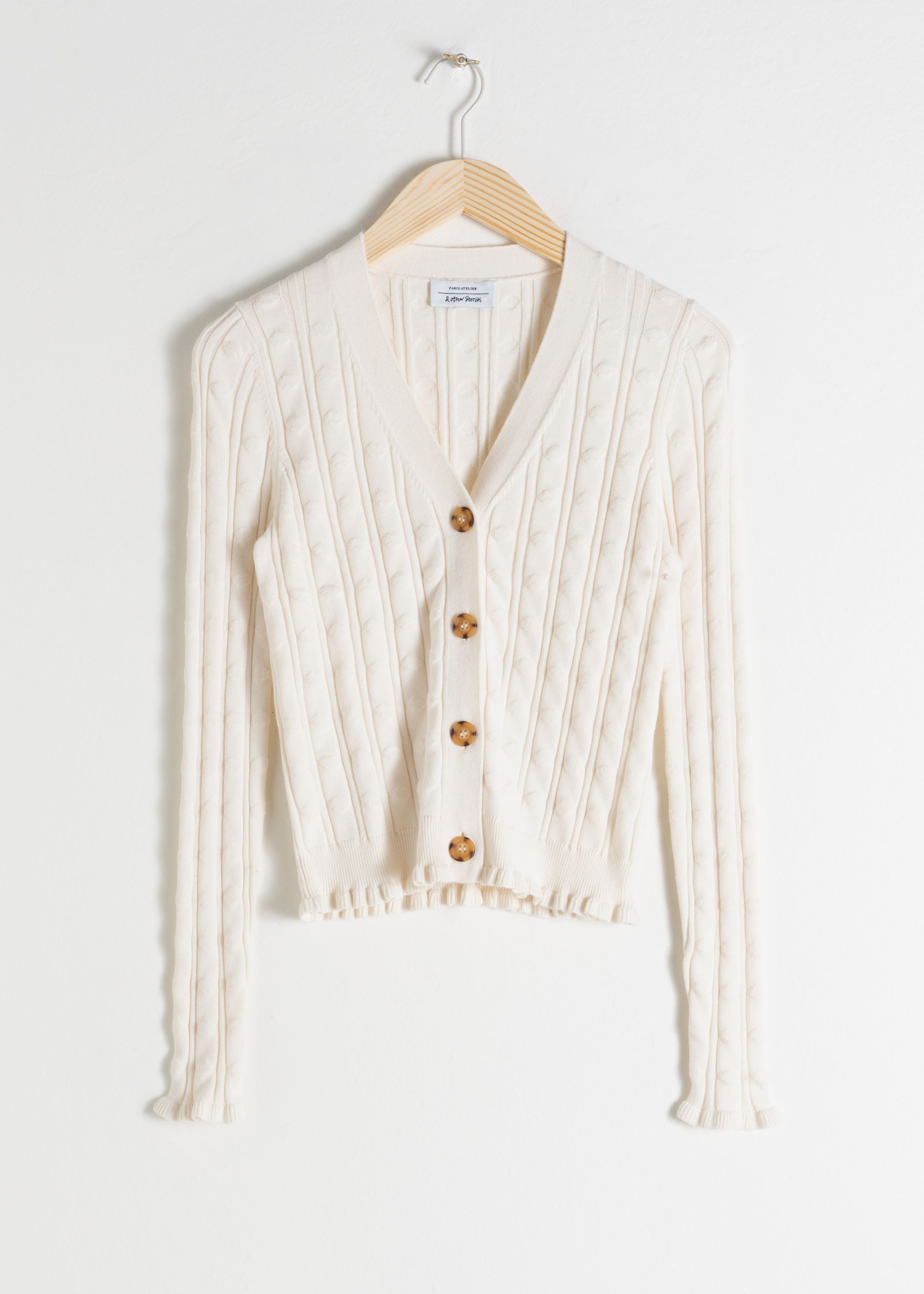 Fitted Cotton Blend Cable Cardigan