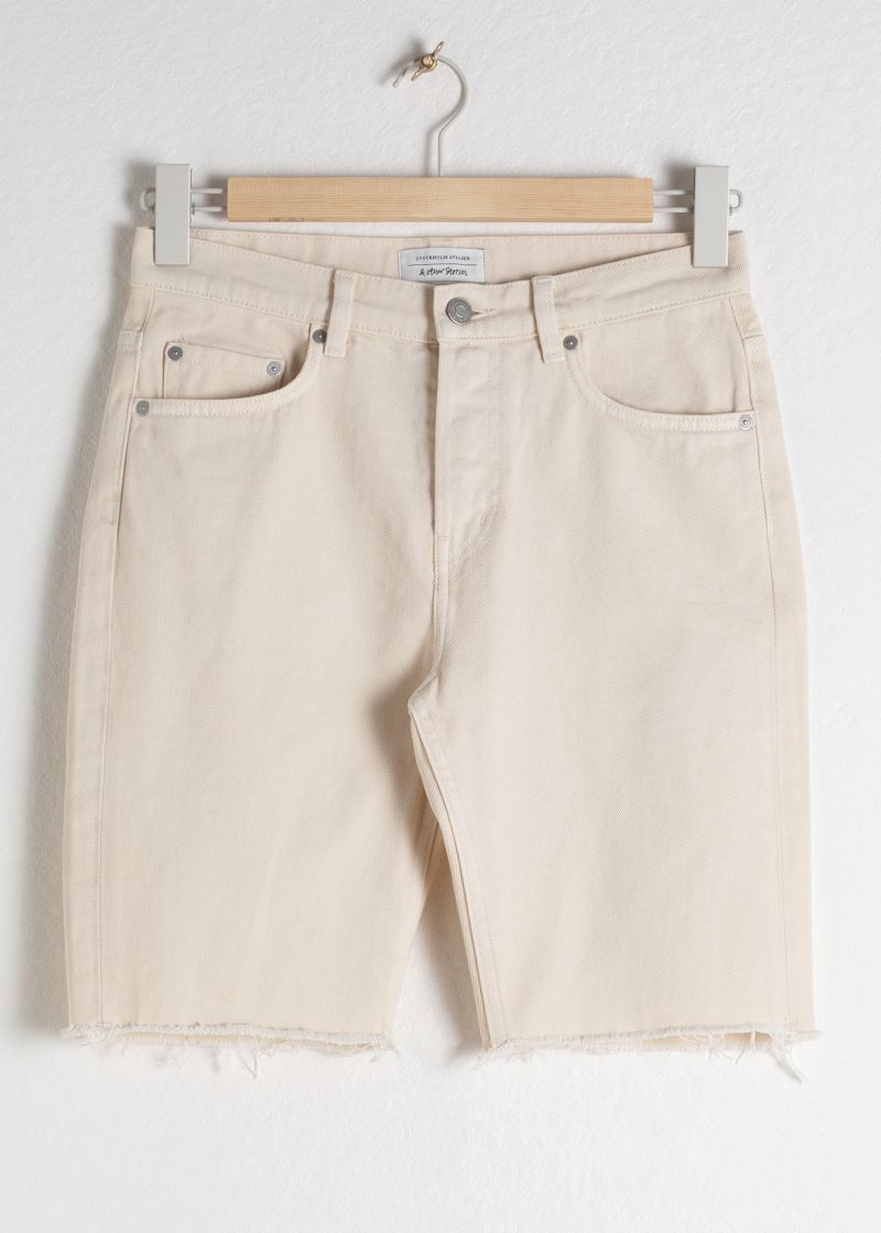 Raw Edge Denim Bermuda Shorts
