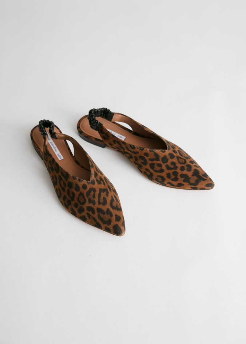 Pointed Leopard Suede Slingback Flats