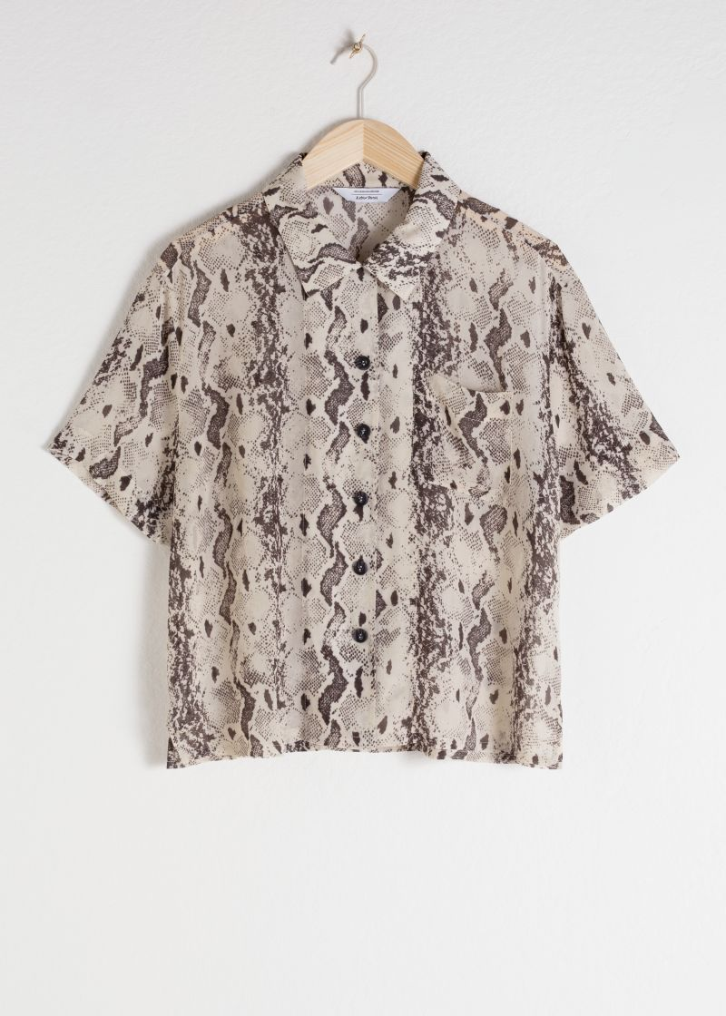 Sheer Snake Print Button Up Shirt
