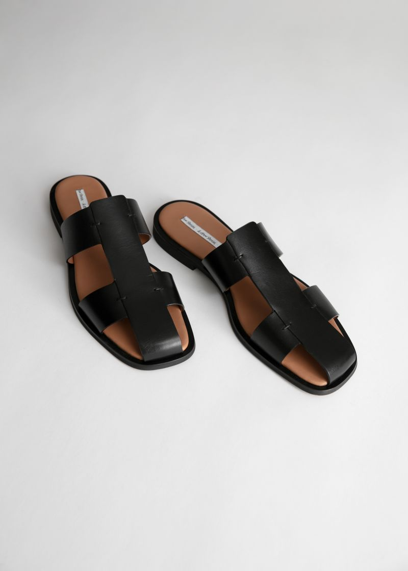 Leather Gladiator Slip Ons