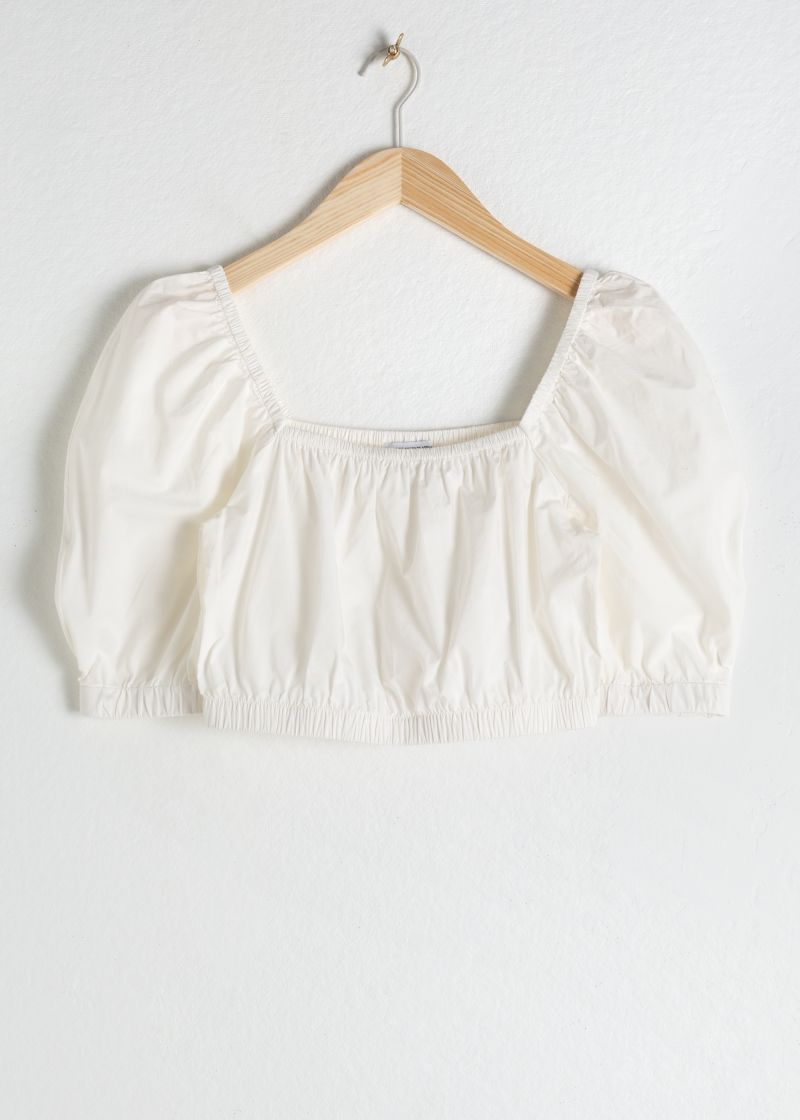 Puff Sleeve Cotton Crop Top