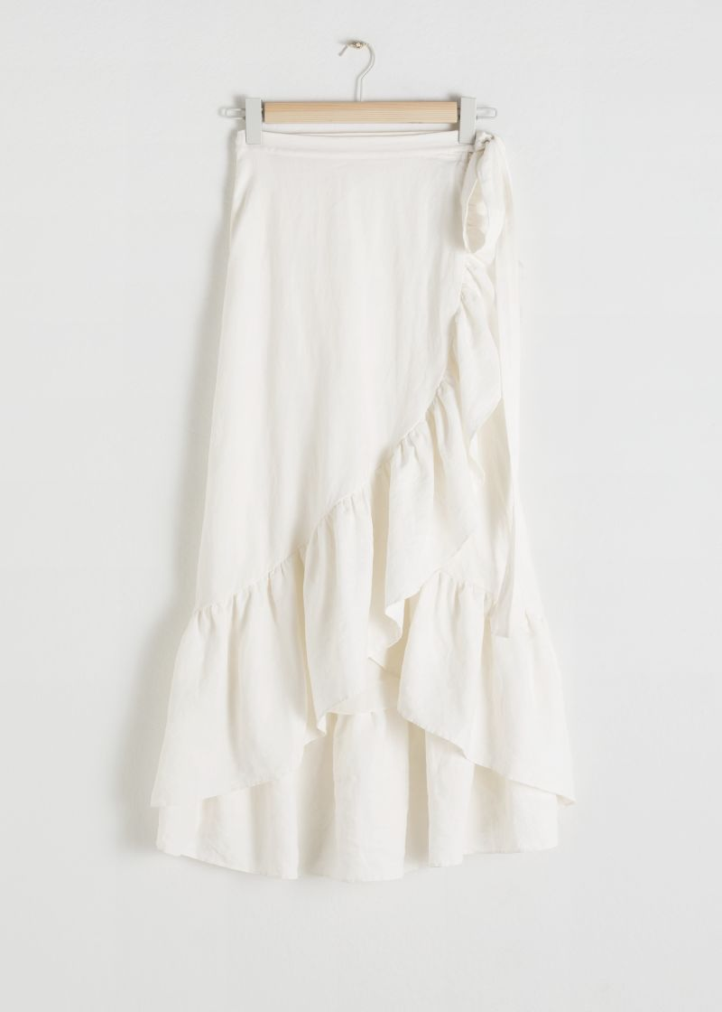 Ruffled Linen Midi Wrap Skirt