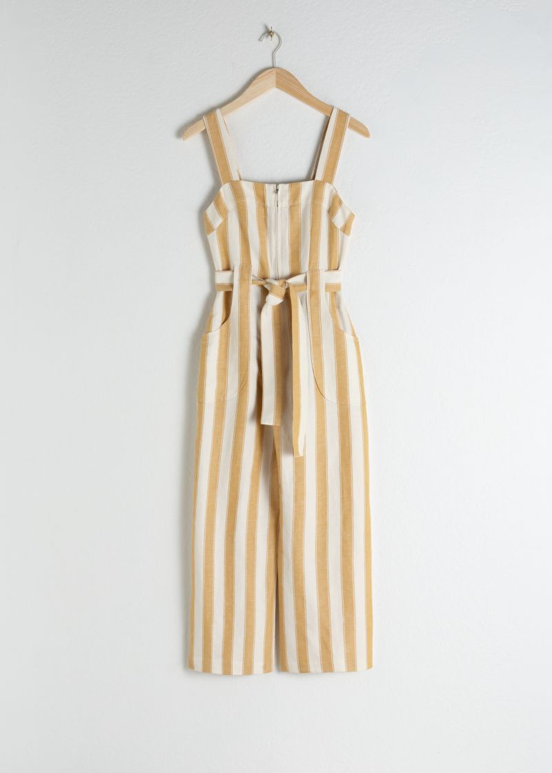 Cotton Linen Striped Jumpsuit
