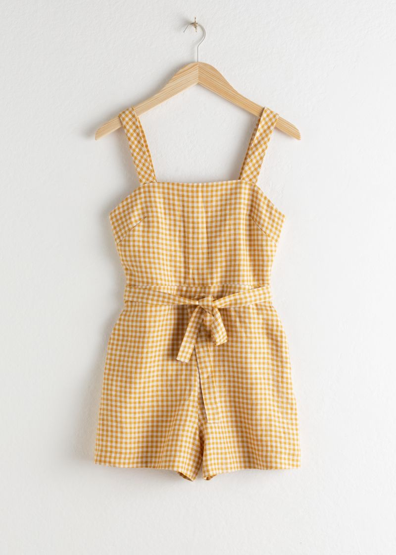 Gingham Square Neck Linen Romper