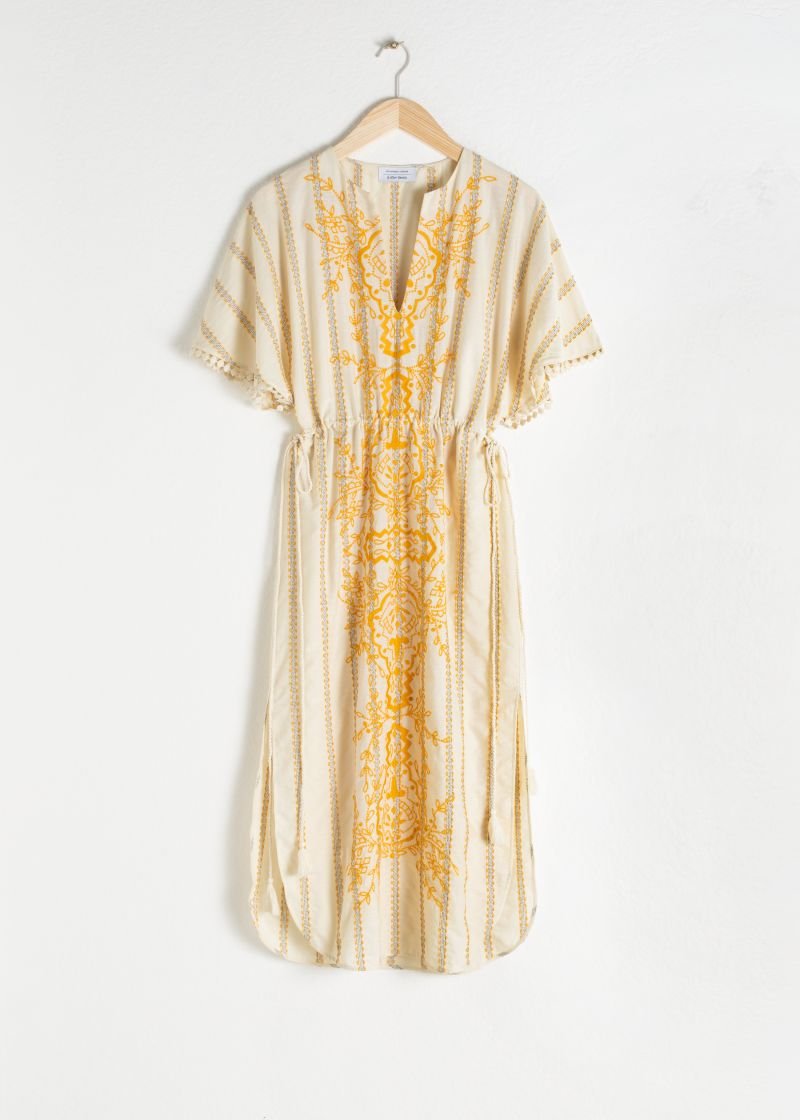 Embroidered V-Neck Cotton Kaftan
