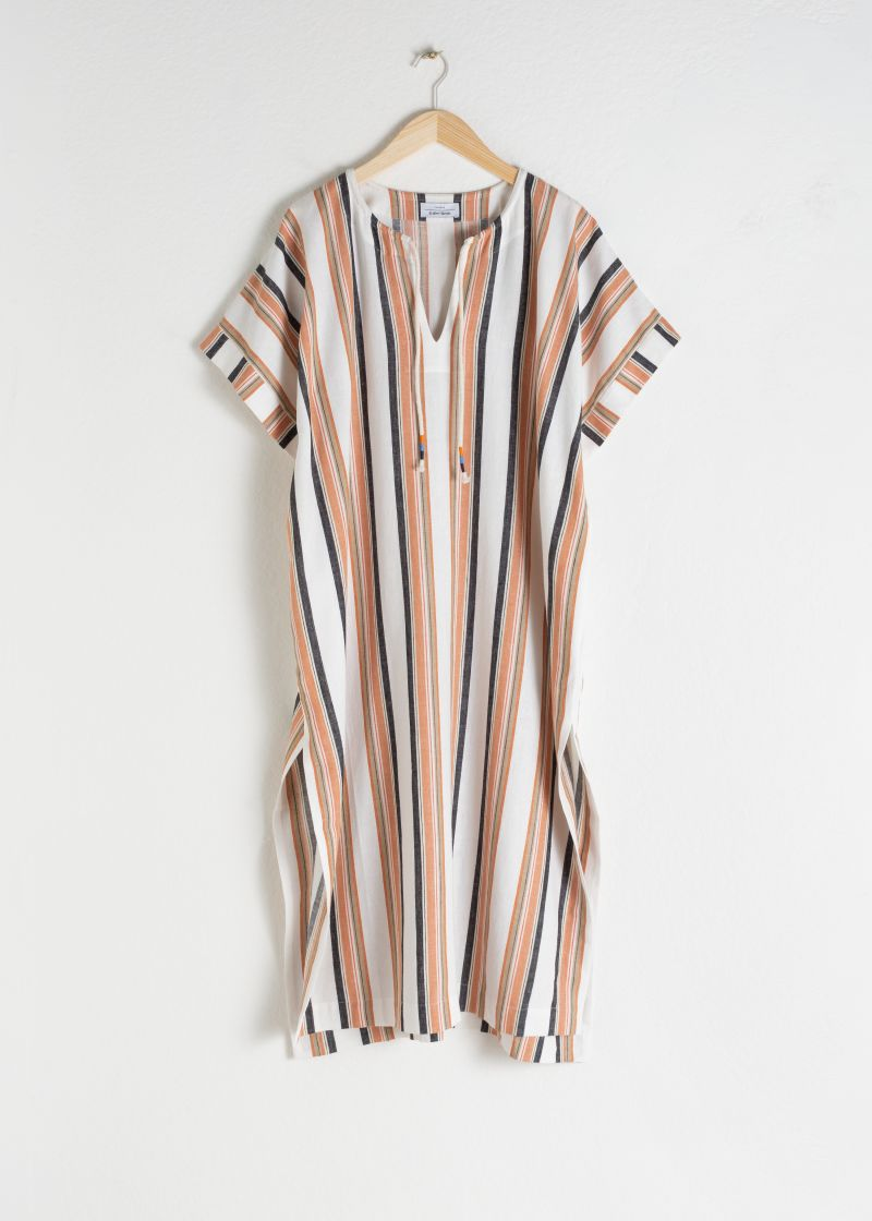 Linen Blend Striped Kaftan