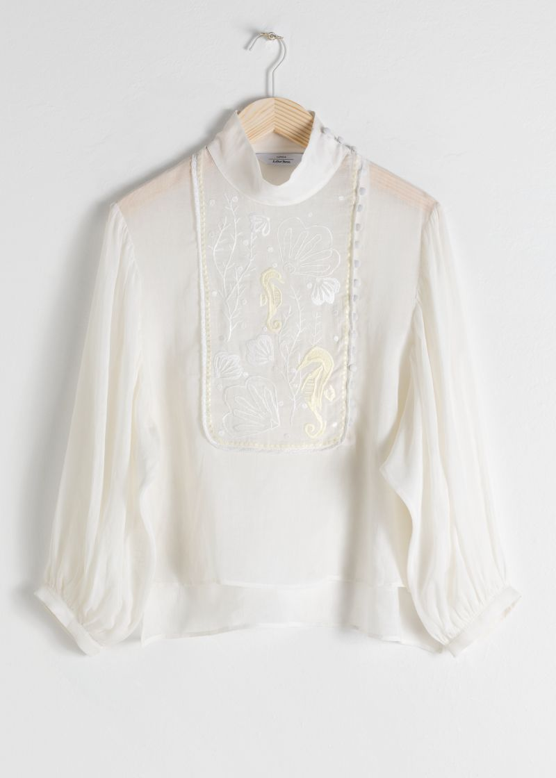 Sheer Embroidered Linen Blend Blouse