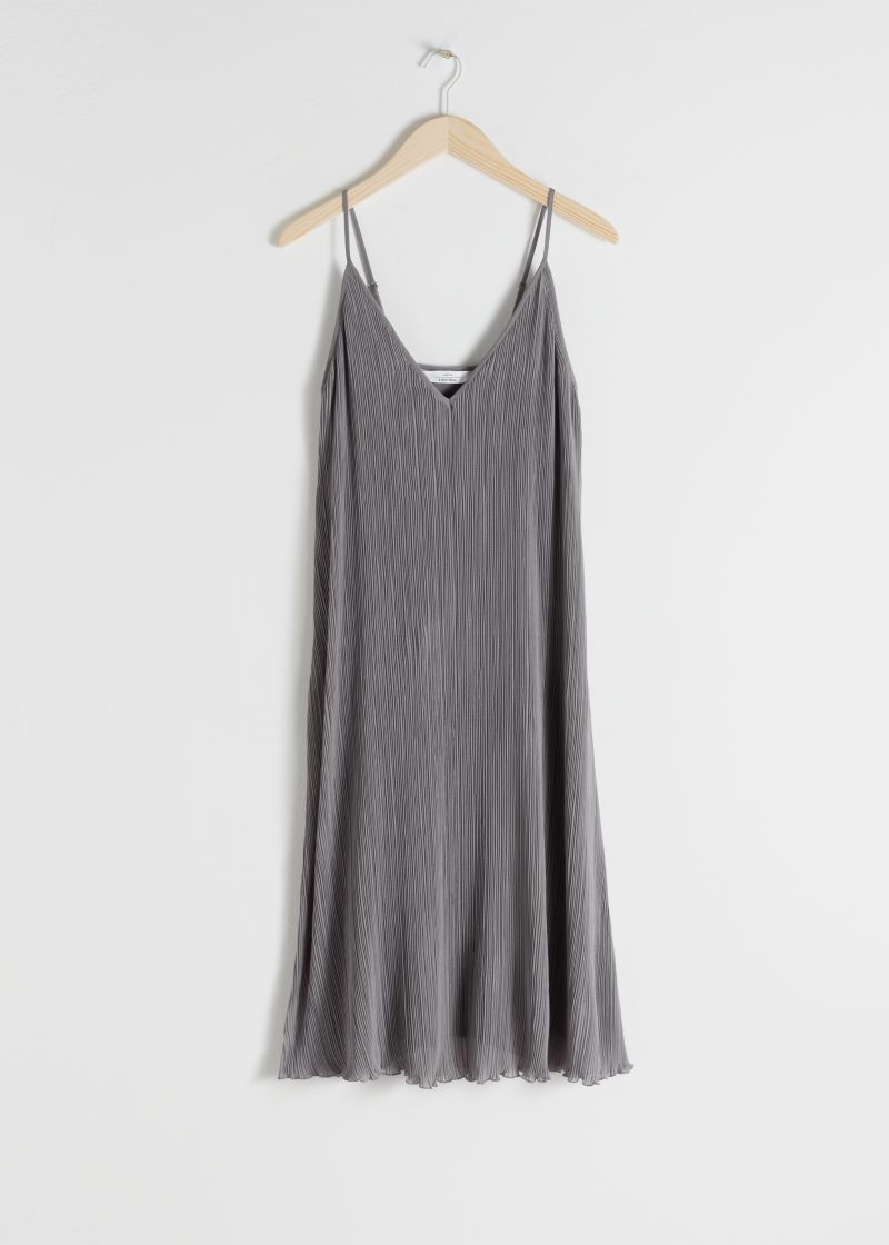 Pleated Recycled Polyester Blend Midi Dress