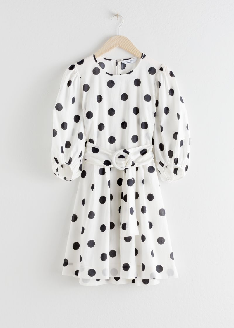 Belted Polka Dot Mini Dress