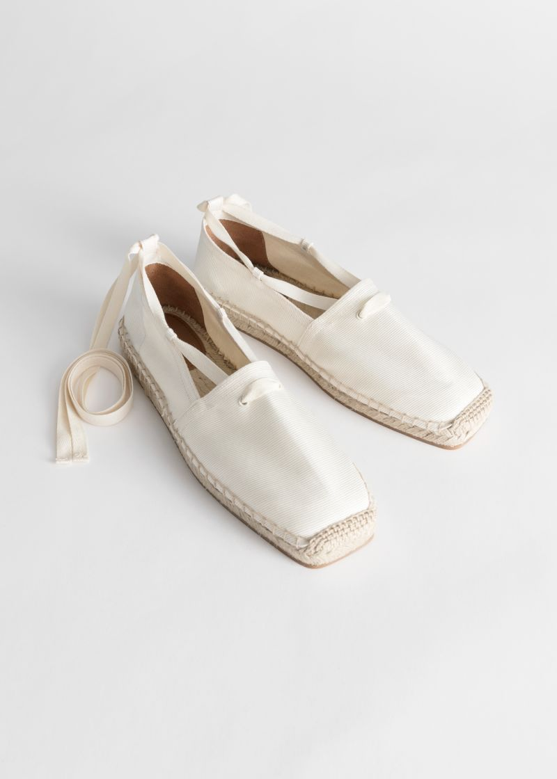 Square Toe Lace Up Espadrilles