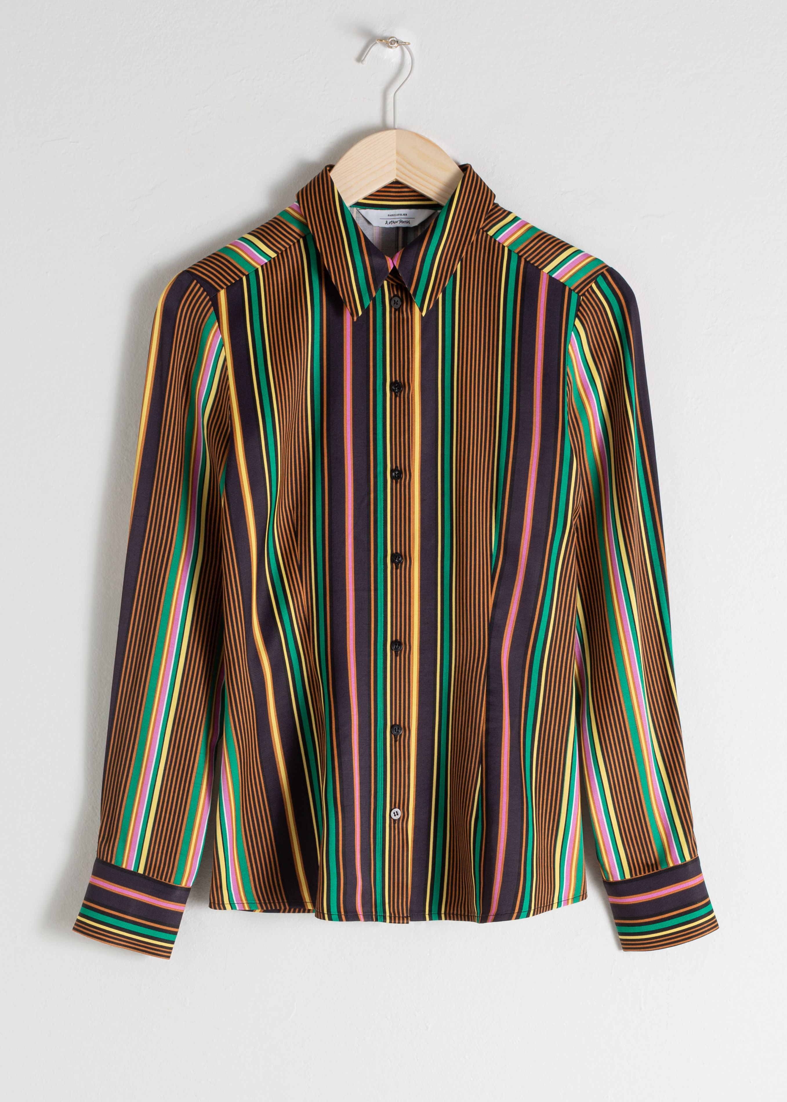 Striped Satin Button Up Shirt