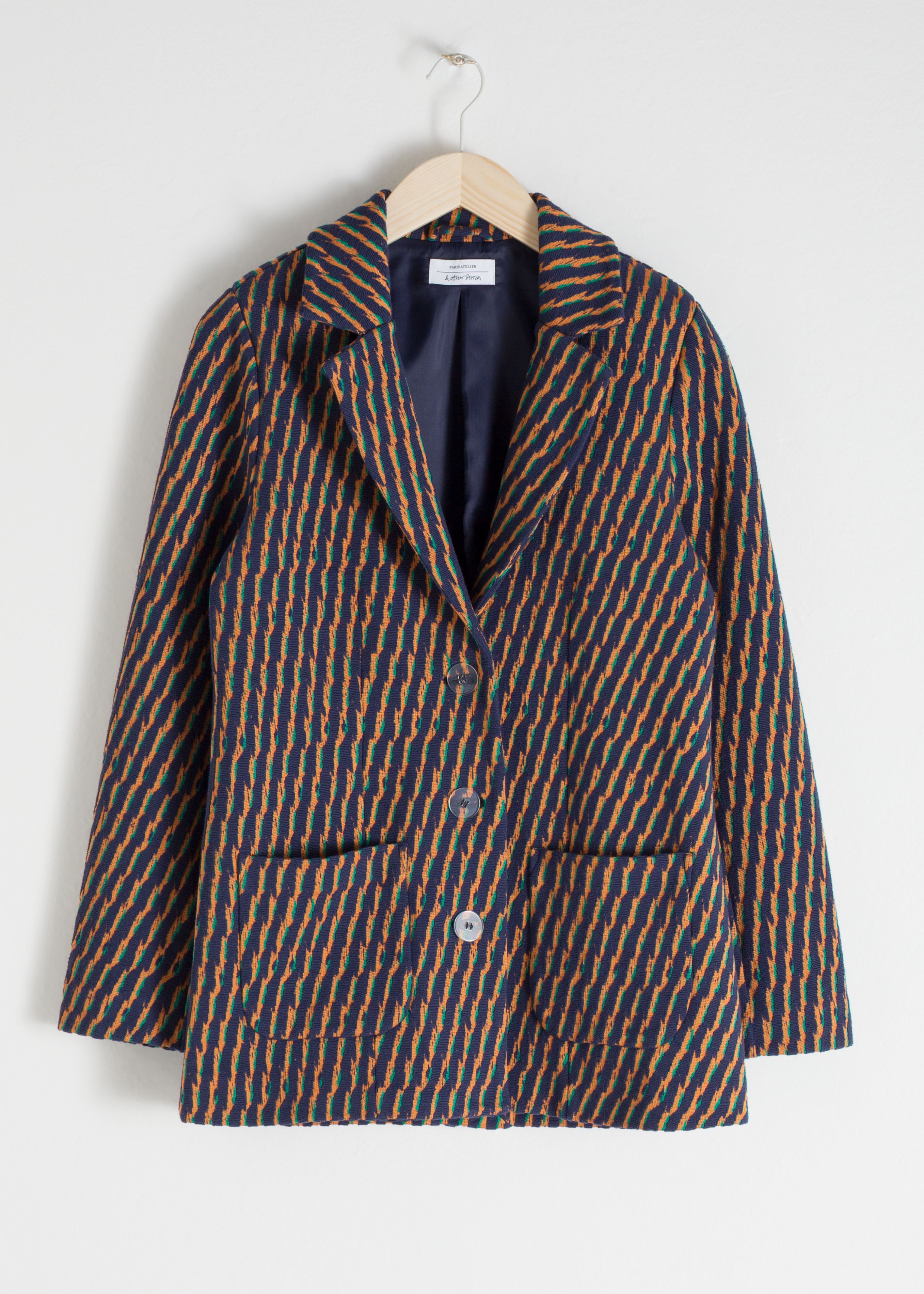 Striped Cotton Blend Blazer