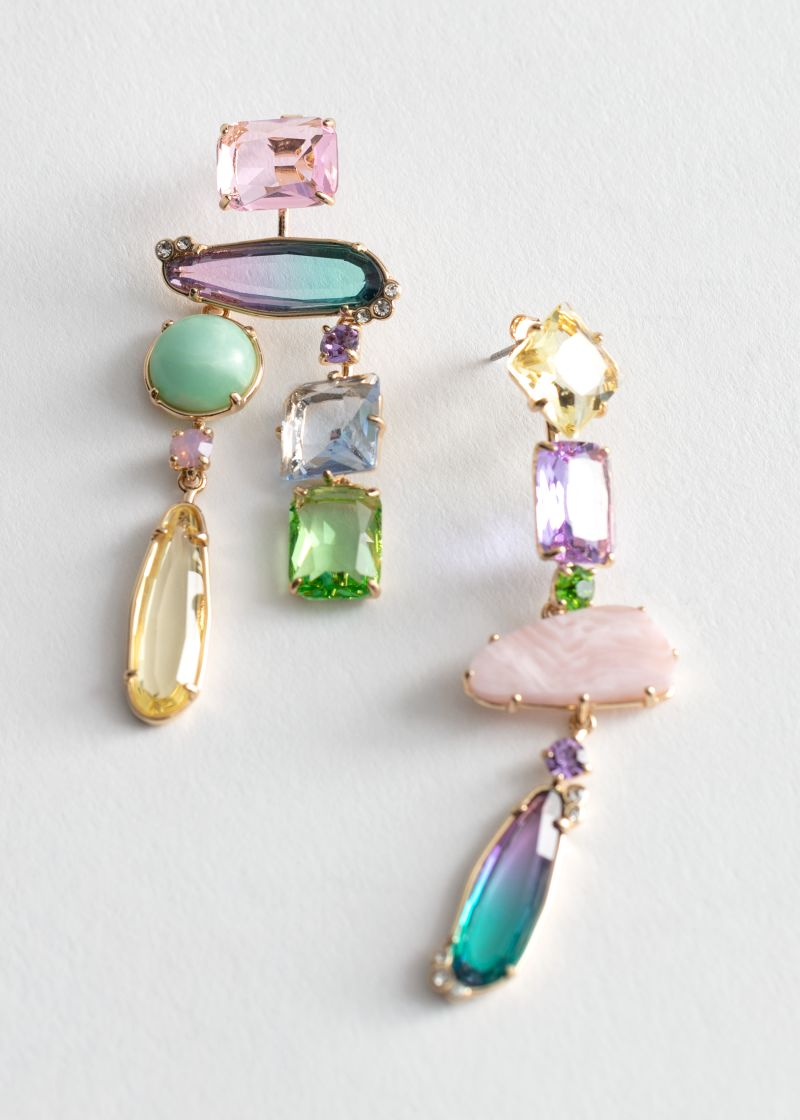 Rainbow Rhinestone Hanging Earrings