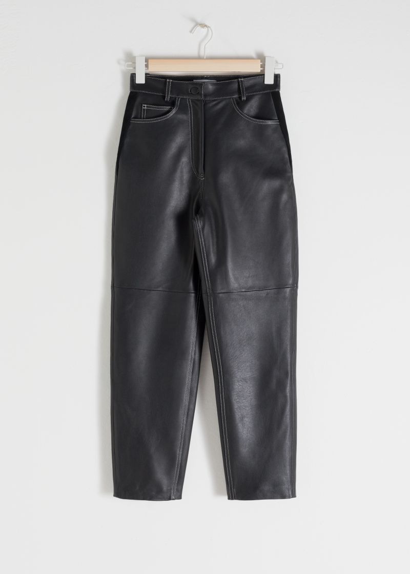 High Waisted Tapered Leather Pants