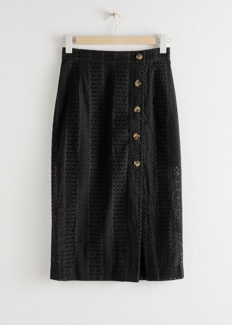 Cotton Dobby Pencil Midi Skirt