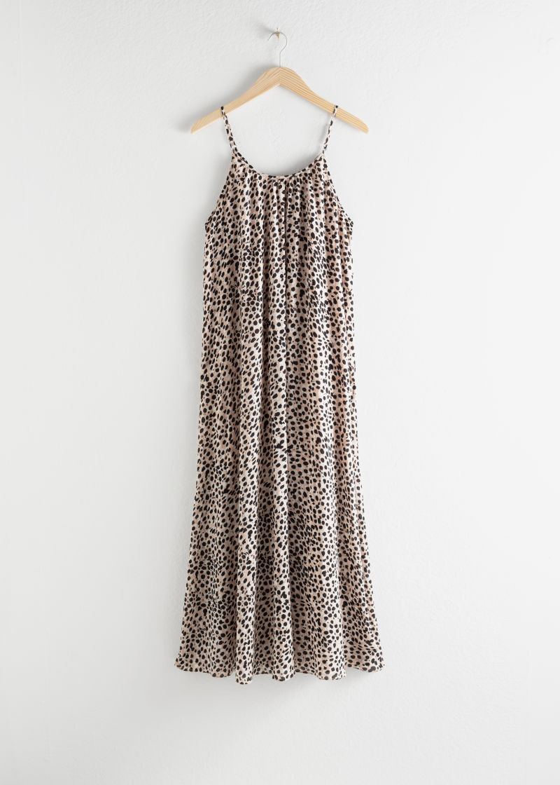 Gathered Leopard Maxi Dress