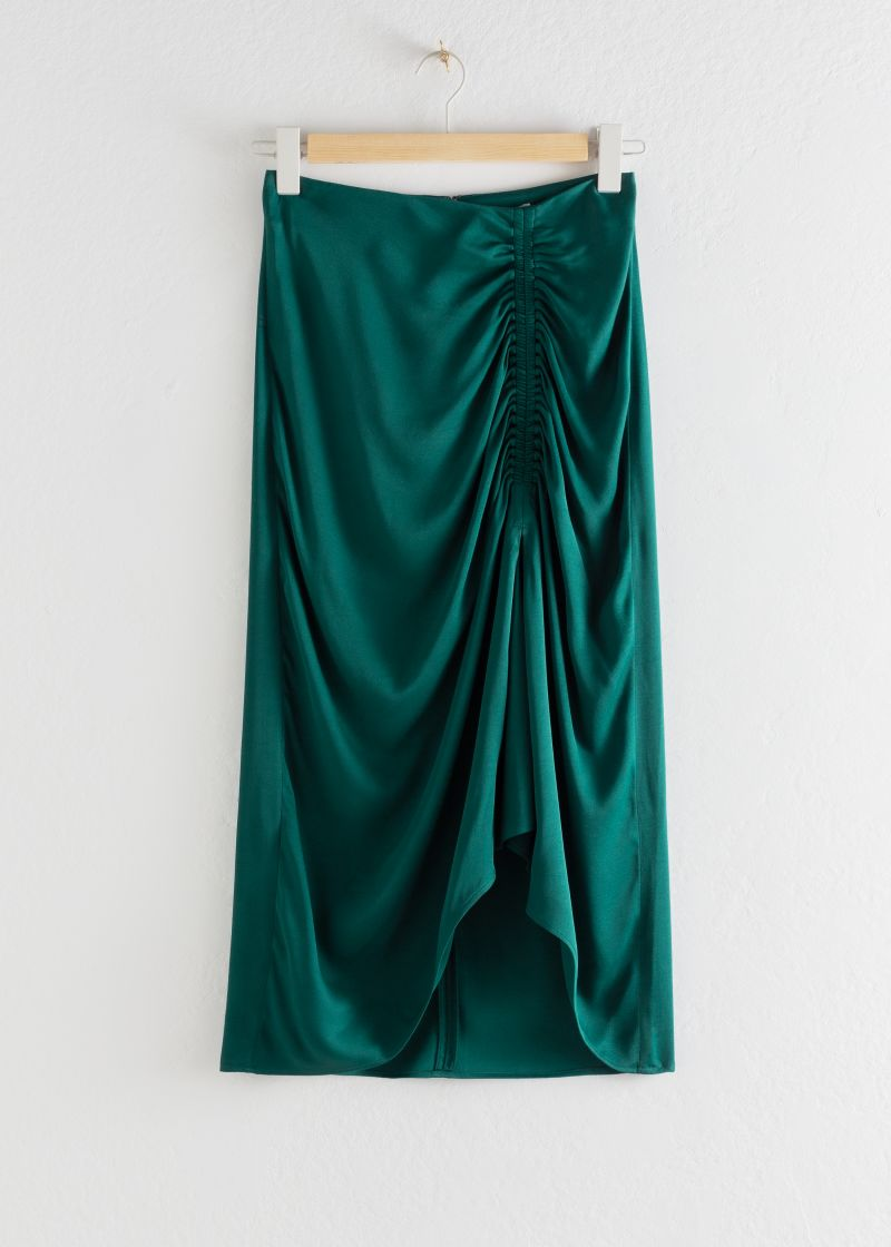 Gathered Satin Midi Skirt
