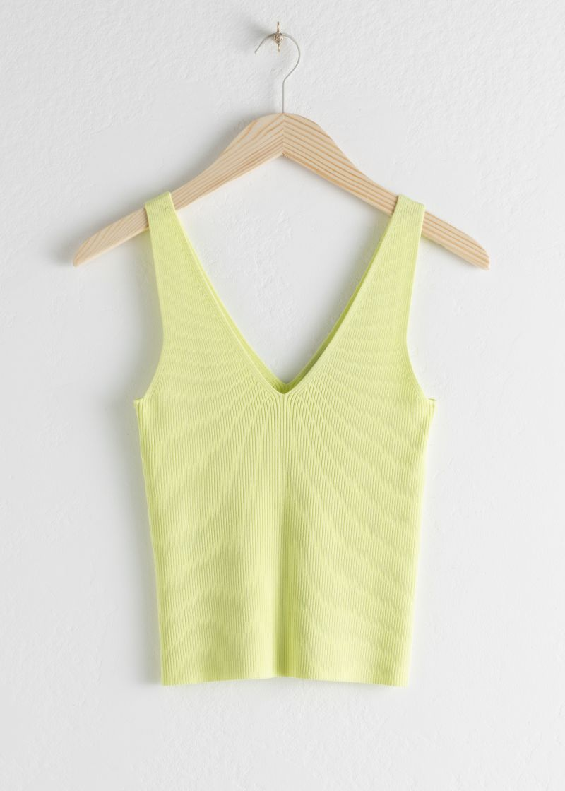 Stretch Rib Knit Tank Top