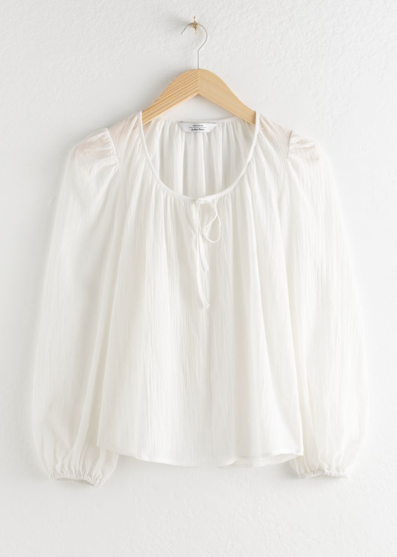 Puff Sleeve Knot Tie Blouse