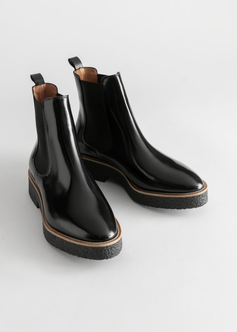 Leather Platform Sole Chelsea Boots