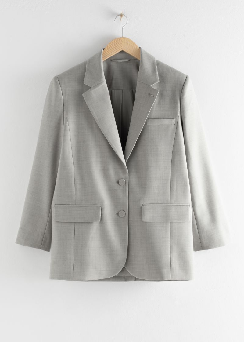 Oversized Wool Blend Tailored Blazer