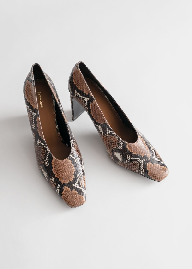 Squared Toe Snake Embossed Pumps