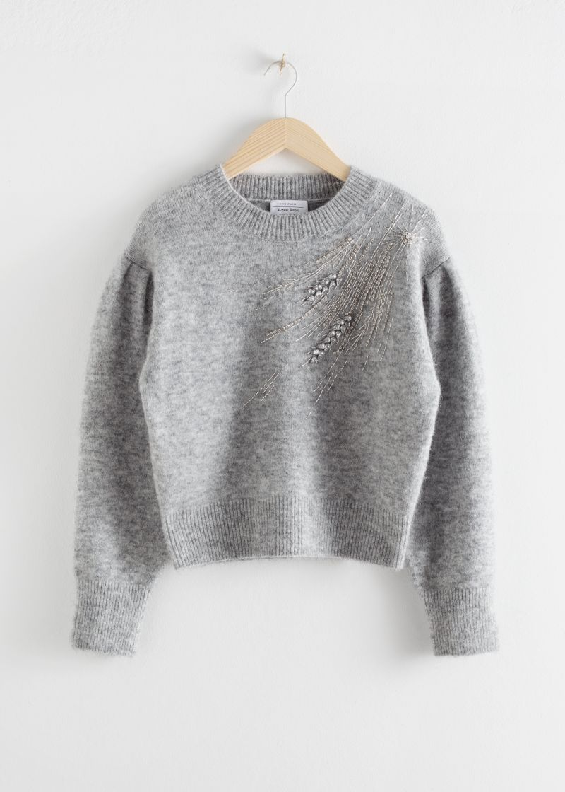 Embellished Wool Blend Sweater