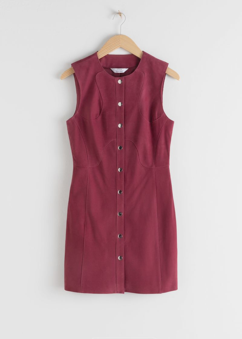 Suede Snap Button Mini Dress