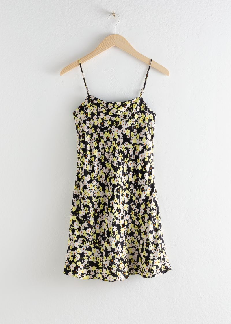 Floral Print Bias Cut Mini Dress