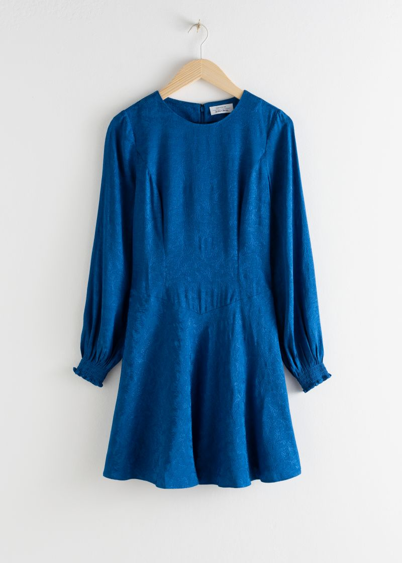 Jacquard Puff Sleeve Mini Dress