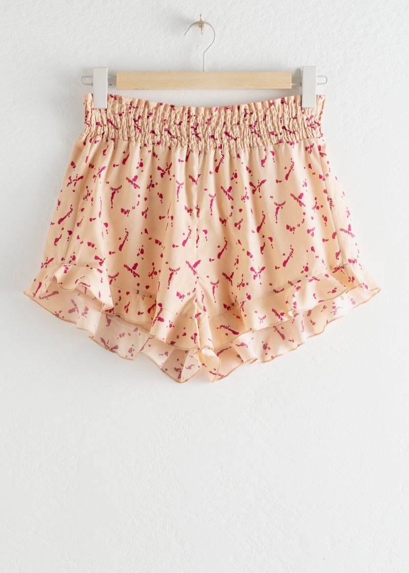 Ruffled Lyocell Shorts
