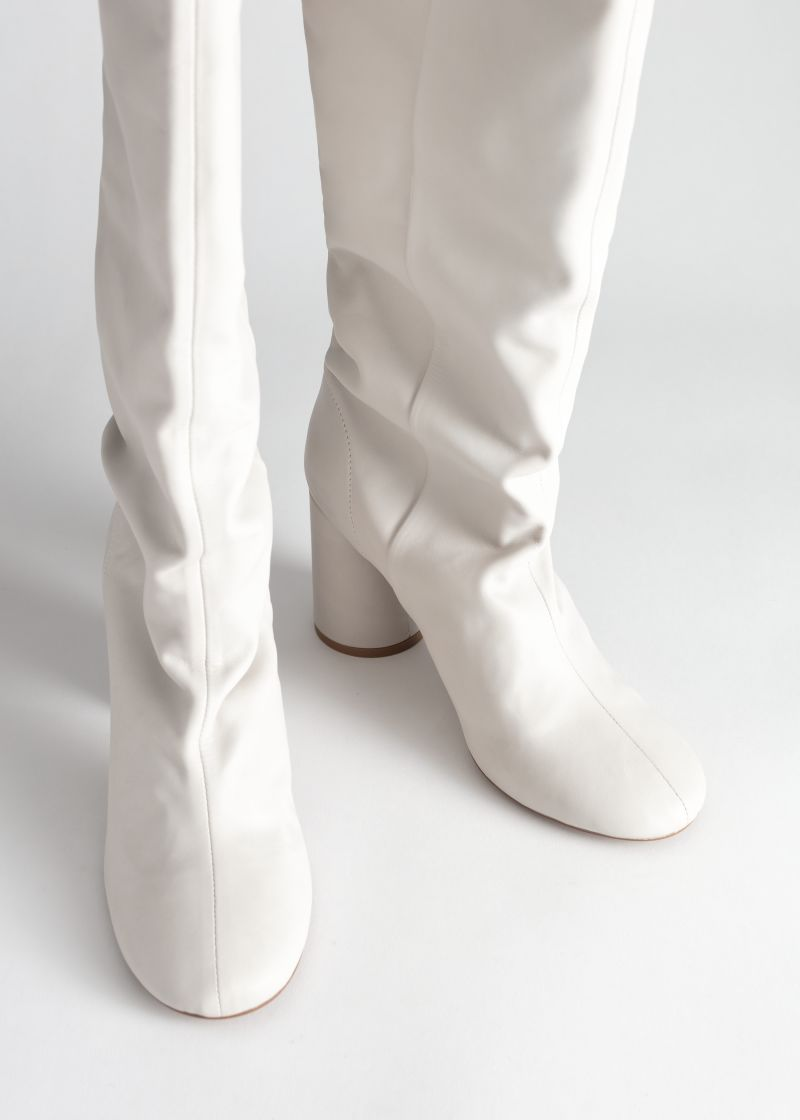 Gathered Slouch Leather Boots