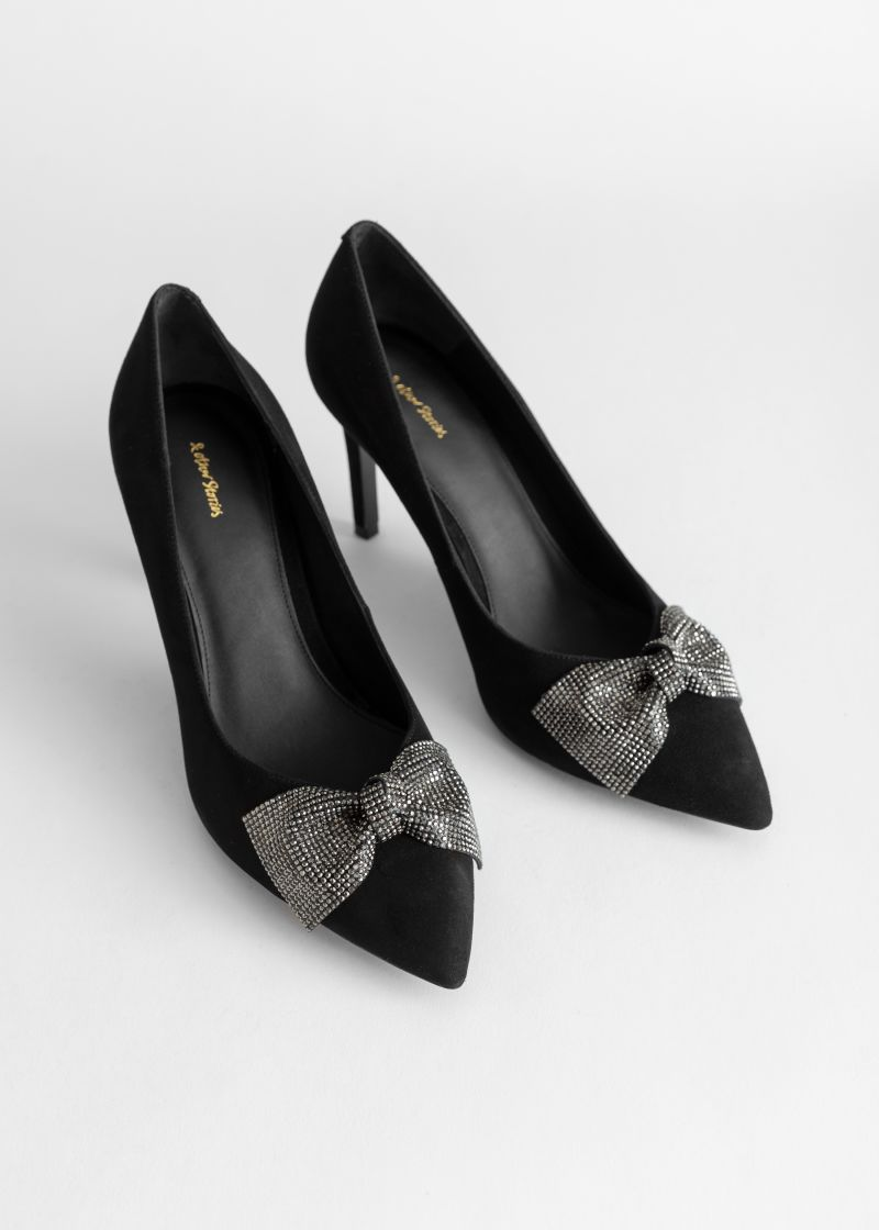 Suede Glitter Bow Heeled Pumps