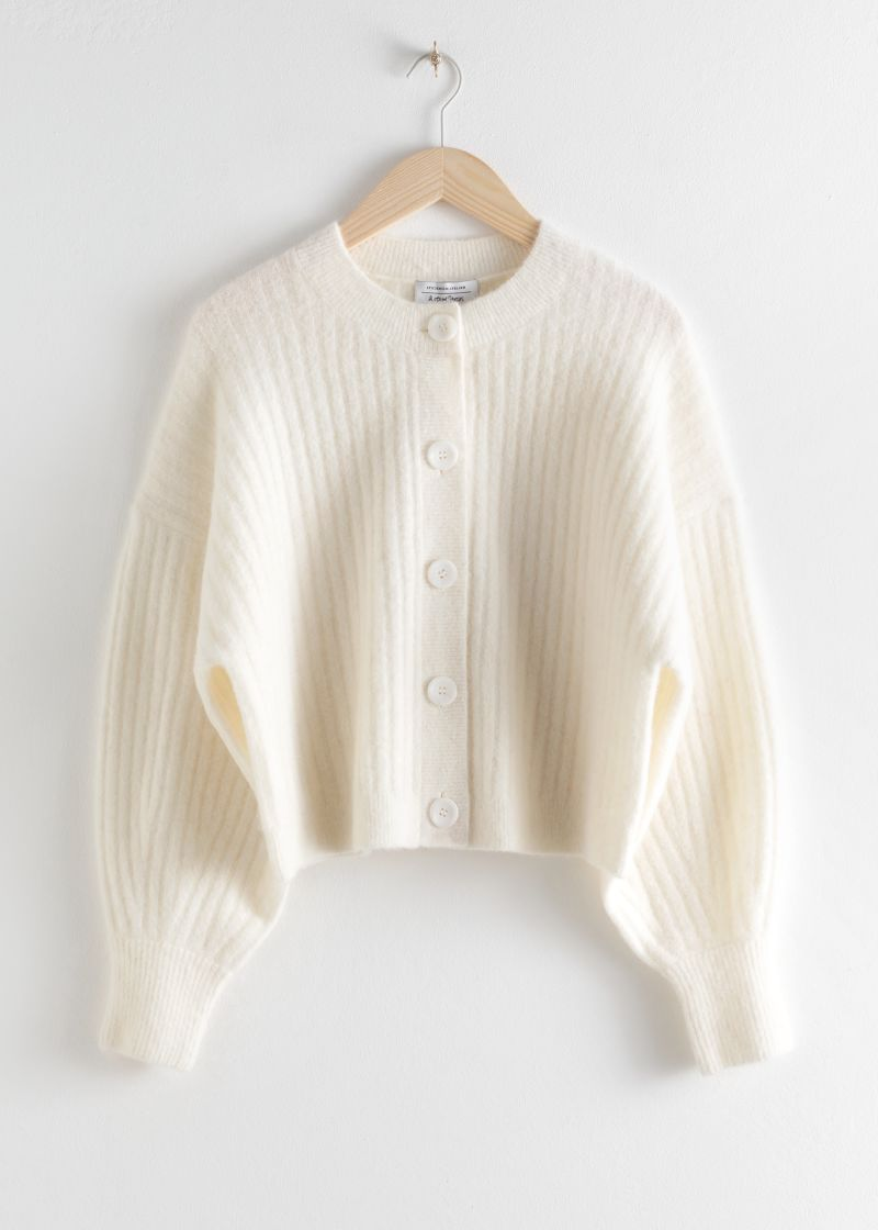 Oversized Ribbed Crewneck Cardigan